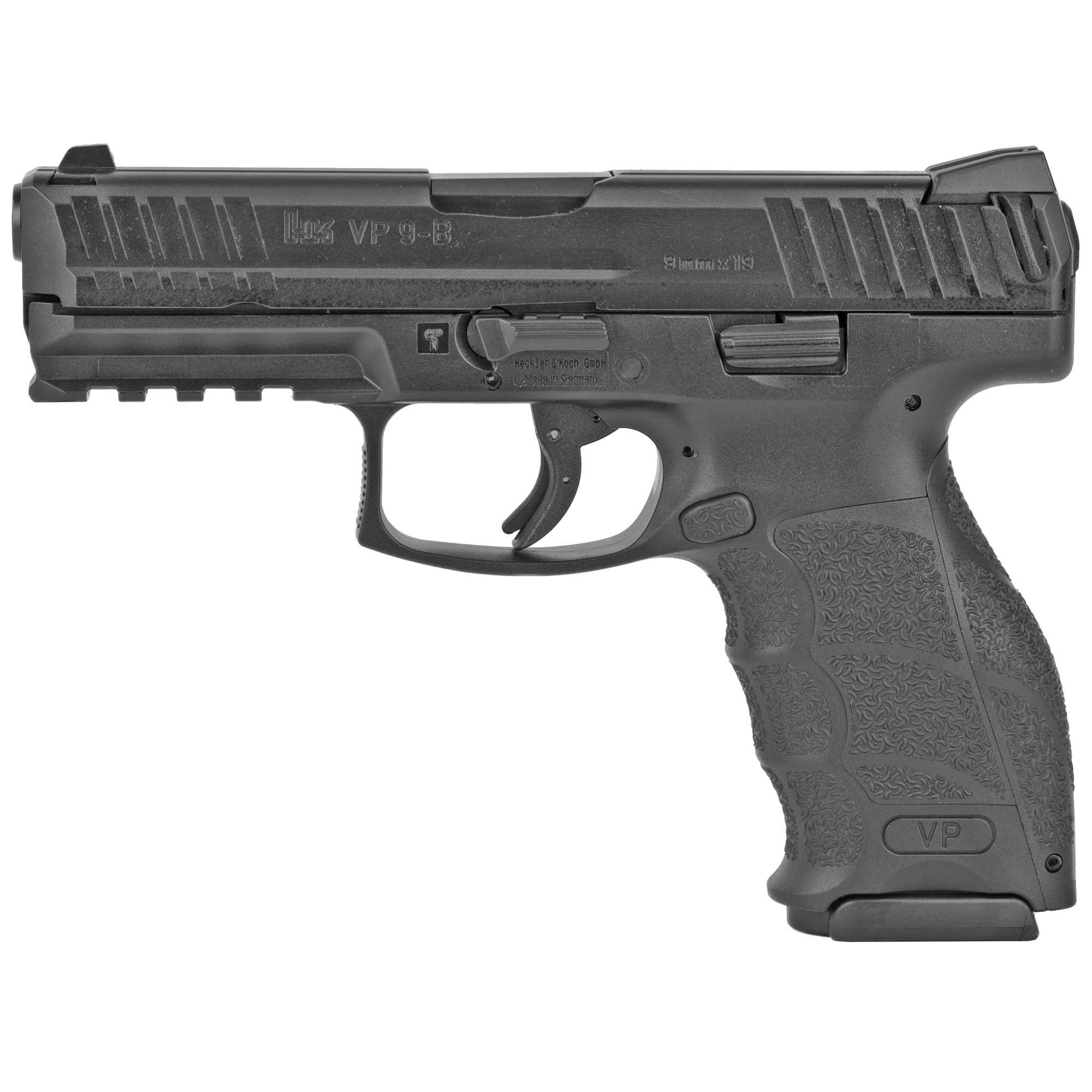 """New for 2018"""" the VP9-B offers a new US-style reversible push-button and utilizes the same magazines as the other VP9 Series. Depending on your shooting style"""" you can now choose between a European-style ambidextrous paddle mag release or the new US-style reversible button. This determination must be made at the time of purchase"""" as the two models are not convertible"""