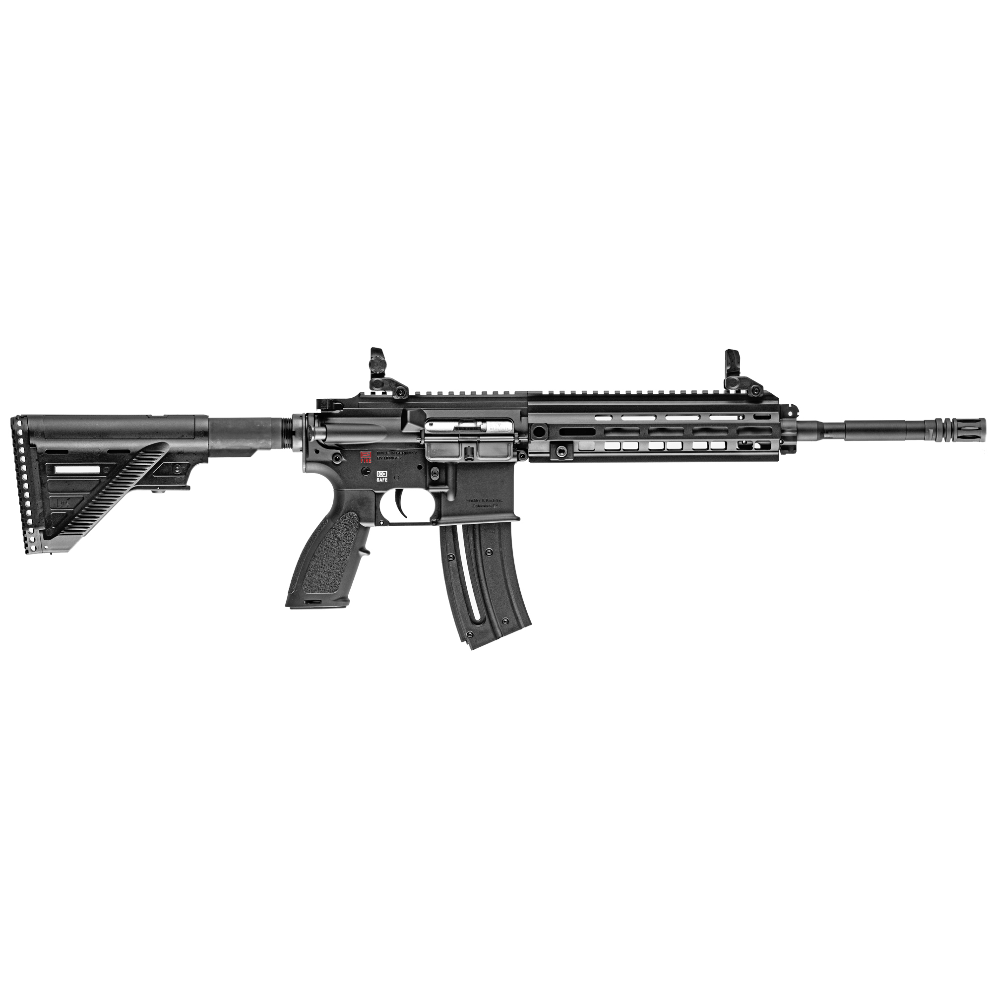 """Get the look and feel of the legendary HK416 used by the world's most elite fighting forces in a semi-automatic .22 LR rifle. HK partnered with Umarex of Germany to bring you the best"""" most realistic HK branded rimfire rifles available. Whether you use it as sub-caliber trainer"""" for hunting or competition"""" make sure you get the only HK416 .22 LR rifle authorized by HK."""
