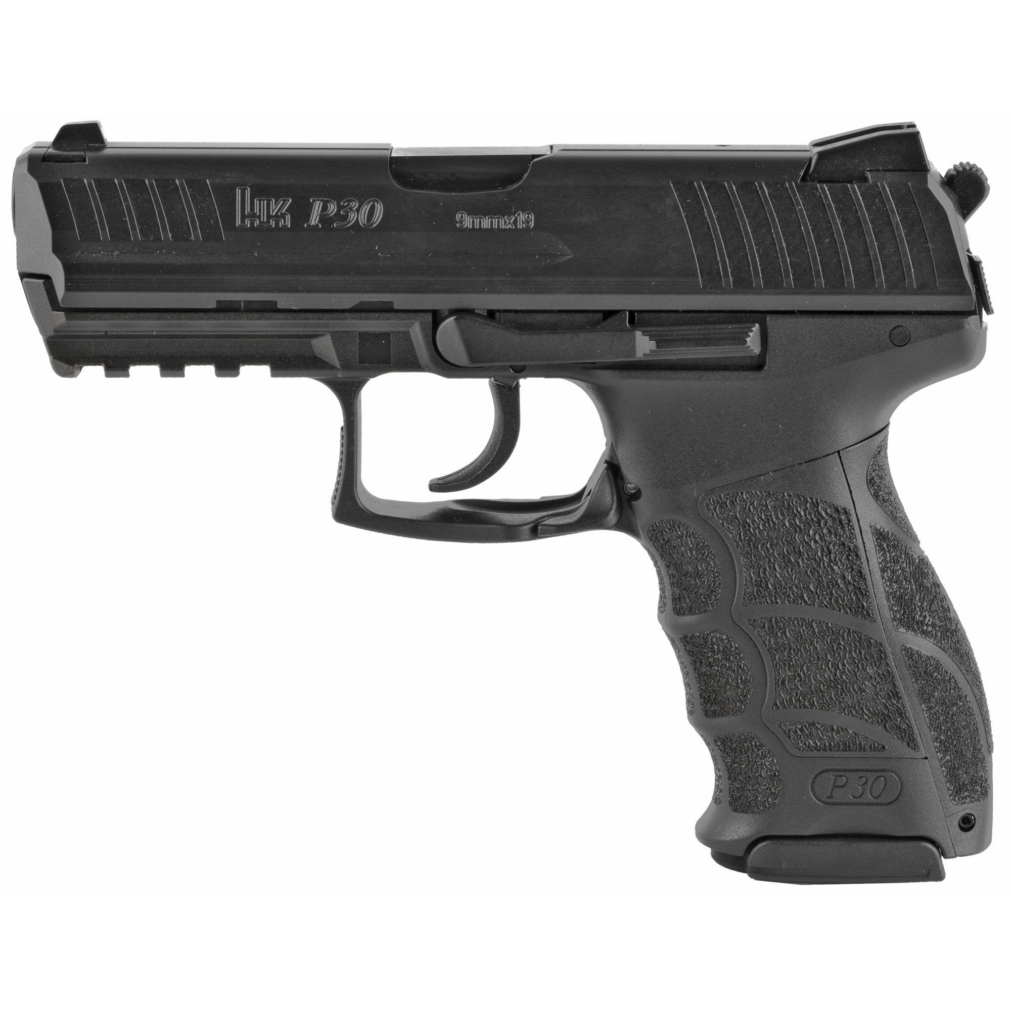 """A recent HK pistol design"""" the P30 is a modern police and security pistol that combines function and safety. Ergonomic features include a special grip frame with interchangeable backstrap inserts and lateral plates"""" allowing the pistol to be individually adapted to any user. Ambidextrous controls include dual slide releases and magazine release levers. Variants with a conventional double-action/single action trigger have a serrated decocking button located on the rear of the frame. Variants with HK's enhanced double action only Law Enforcement Modification* (LEM) trigger have no external decocking controls."""