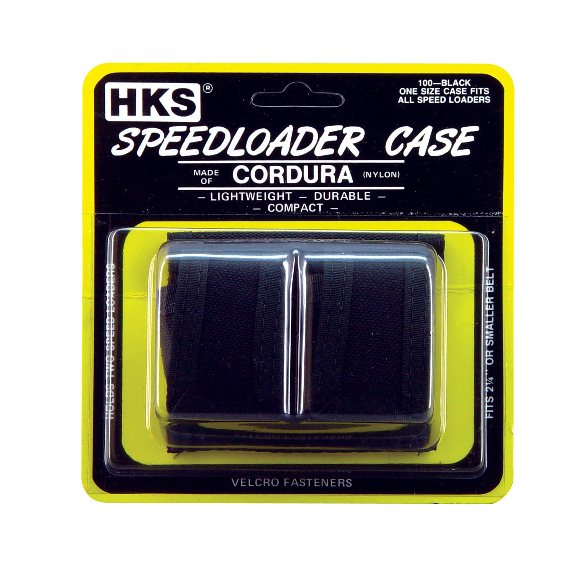 "These handy HKS Speedloader Pouches will hold 2 HKS Revolver Speedloaders. They will fit on any belt up to 2-1/4"" wide."