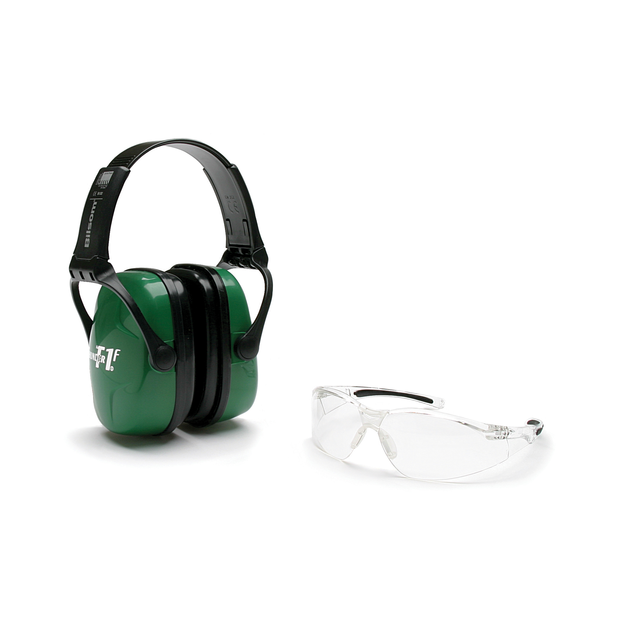 This kit includes both hearing and eye protection. The Glasses meet Z287+Impact standards and the earmuffs are CE certified and have a noise reduction rating of 25.