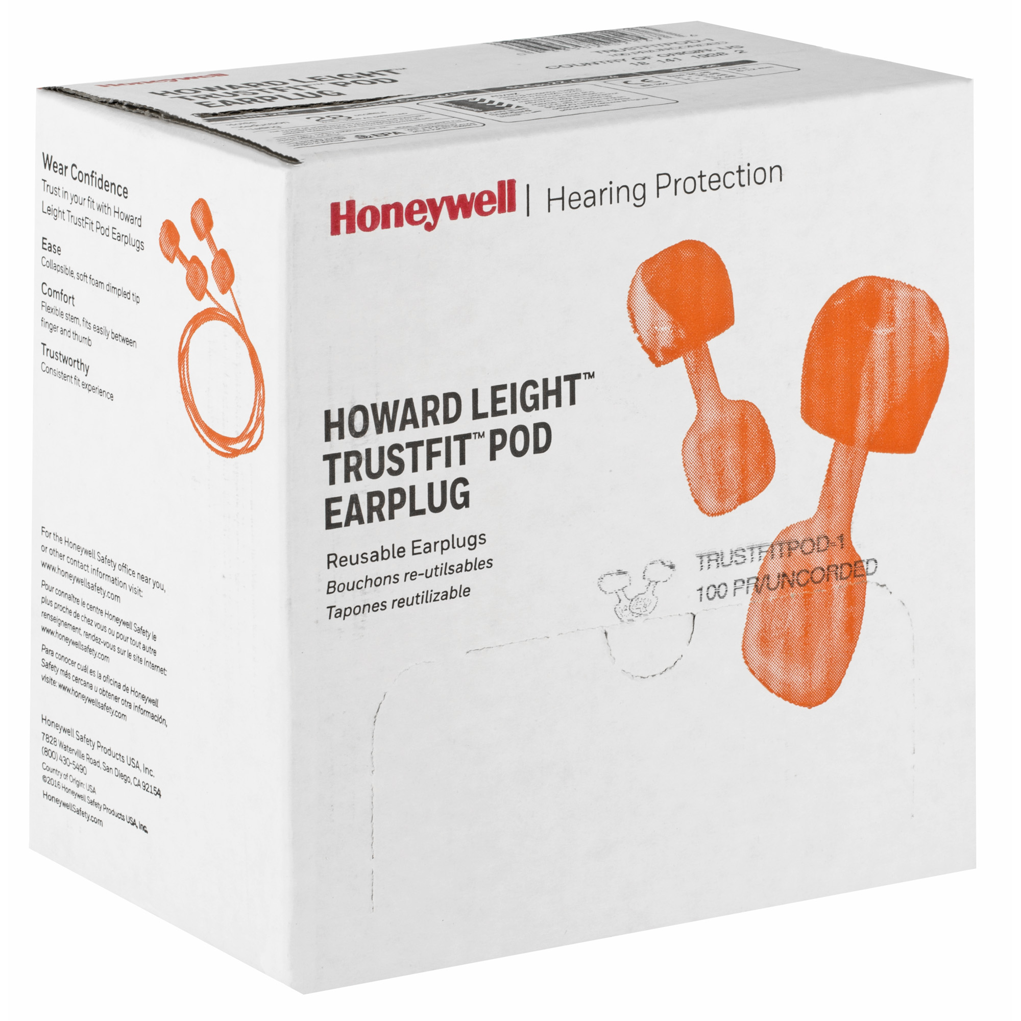 """Trustfit Pod Uncorded Multiple-Use Earplugs utilize soft foam with a dimpled tip that collapses and can be easily pushed into the ear without the need to roll-down. The use of a contoured paddle allows for a natural fit between the finger and thumb"""" while a flexible stem material gently pushes the dimpled foam into the narrowing ear canal."""