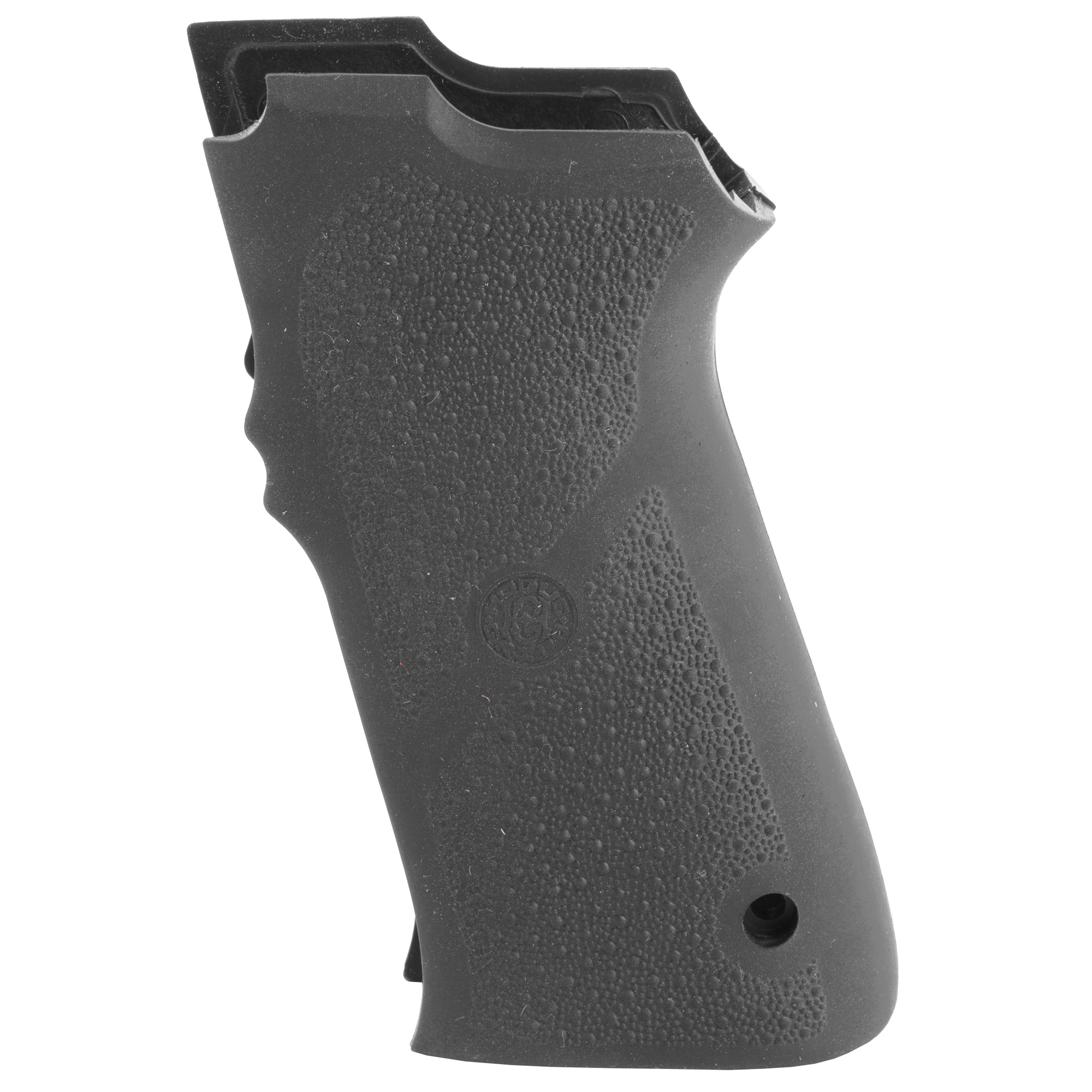 This grip is the S&W 5900 Series rubber grip panels. These grips are a two piece that replaces the one piece stock grip. These grips are a straight backstrap design that installs using a mainspring retainer and screws which come with the grip. The mainspring retainer is pinned into position with the pin that holds the stock grip on. The mainspring retainer provides the threaded bosses that the grip panels screw into.