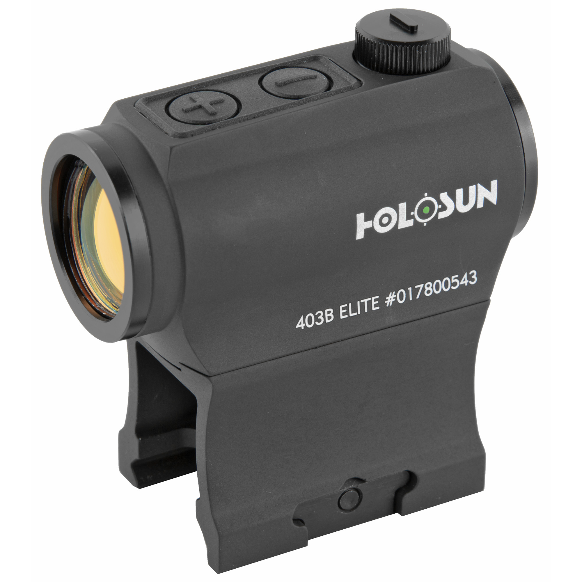 """The HE403B-GR is an Elite version of our HS403B small compact micro red dot optic. Employing Holosun's new Green LED technology"""" the lifetime for one CR2032 battery can be up to 5 years and has up to 4x more efficiency when used the high brightness settings! This optic features our """"Shake Awake"""" technology that powers the optic on with slight movement of the unit. It may be installed on various firearms such as shotguns"""" pistols """"air rifles and crossbows. The HE403B-GR is compatible with standard mounts."""