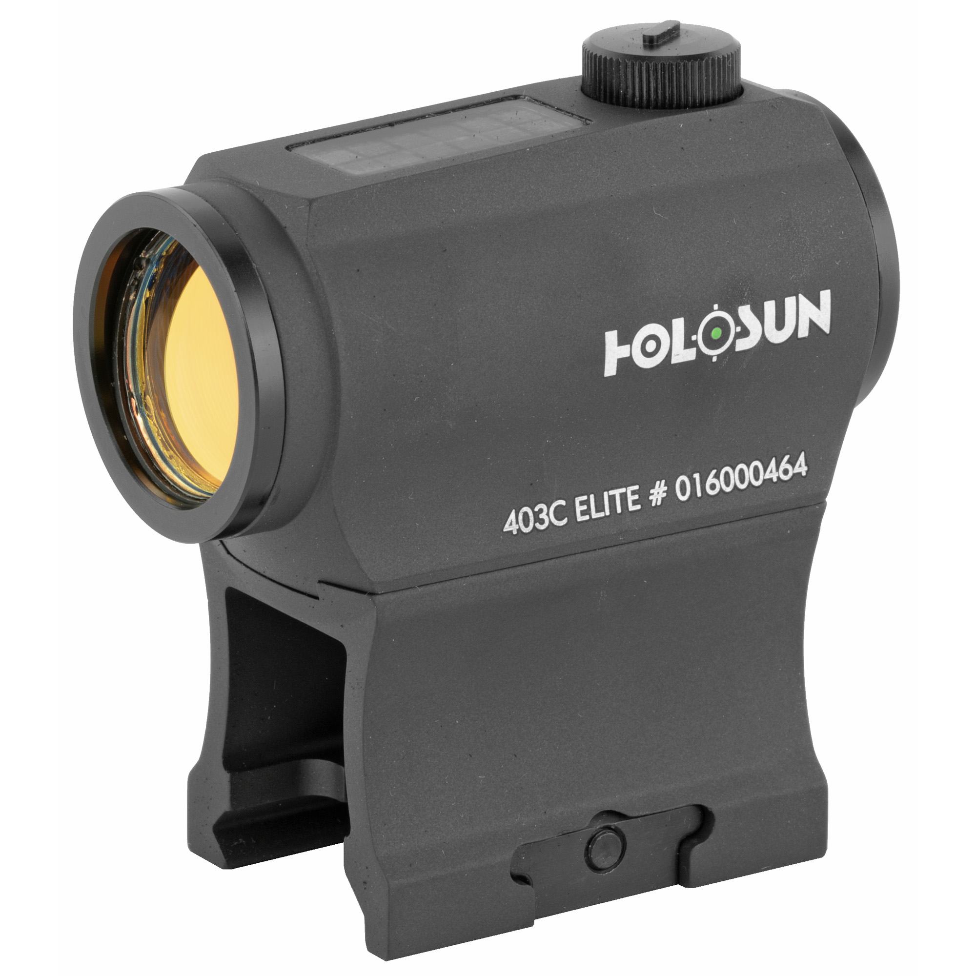 """The HE403C-GR Elite is our new green reticle"""" solar version of the extremely popular HS403C red-dot. It features a crisp green 2MOA dot. Our highly efficient light emitting diodes and solar cells allow Holosun solar optics to run without a battery in many lighting conditions. Additionally"""" the CR2032 battery lasts up to 5-years. The HE403C-GR Elite is compatible with industry standard mounting solutions."""