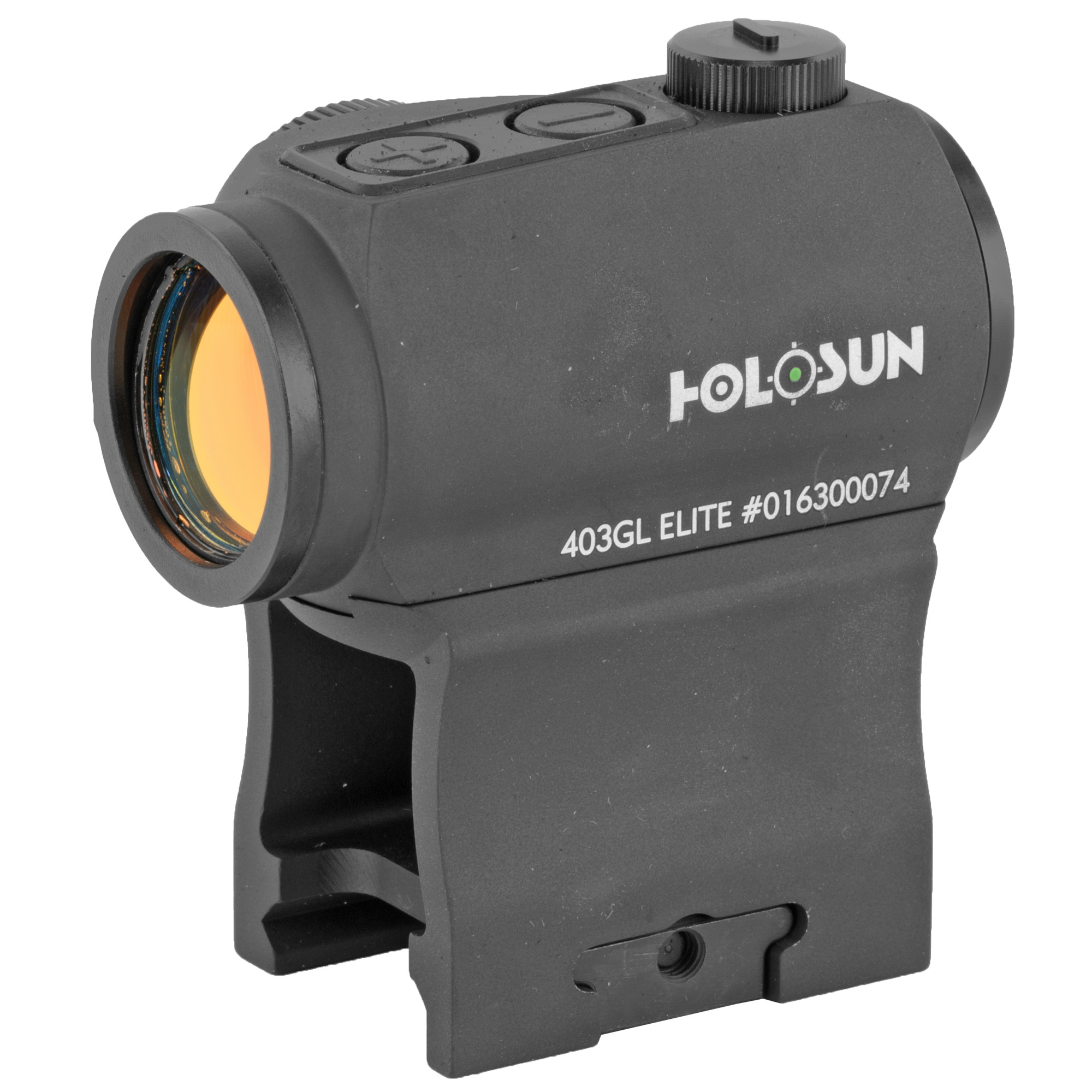 """The HE403GL-GR Elite is our new green reticle version of the extremely popular Classic HS403GL. It is a small compact red dot sight with side battery housing and H/L adjusting turret options. Employing Holosun's LED technology"""" the lifetime for one CR2032 battery can be up to 5 years. Holosun's """"Shake Awake"""" technology automatically turns the optic on at the slightest movement. When the optic senses no movement"""" it will go to sleep."""