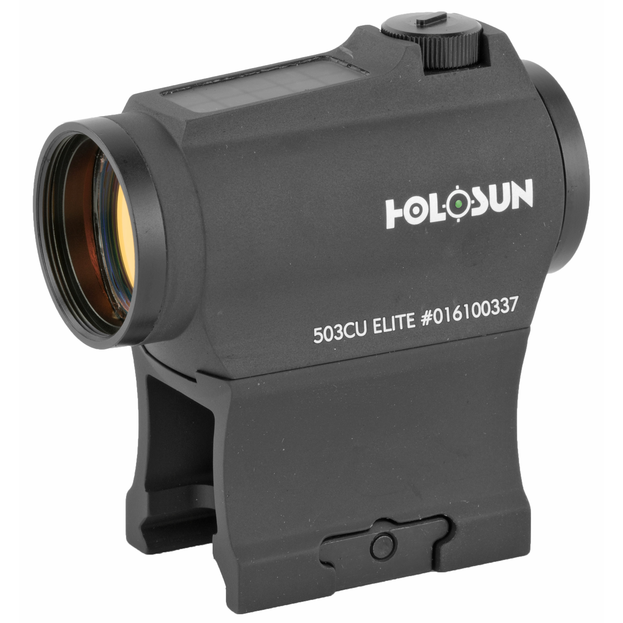 """The HE503CU-GR Elite is a new micro green dot optic equipped with a 65 MOA circle dot reticle with the option of switching to a 2MOA dot only. Our highly efficient light emitting diodes and solar panels allow Holosun solar optics to run without a battery in many lighting conditions. Additionally"""" the back-up battery lasts up to 5-years on the dot and up to 2 years on the circle dot. The """"U"""" signifies a housing design that shrouds the windage and elevation turrets on two sides."""