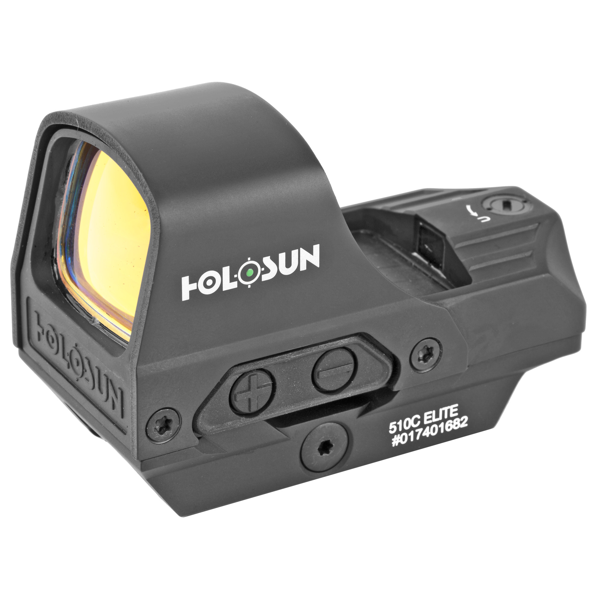 """The HE510C-GR Elite is Holosun's flagship Open Reflex optic. Now equipped with Holosun's highly efficient green reticle"""" the HE510C-GR Elite has an open frame for a wide sight picture. The HS510C Elite is powered by our new"""" """"Advanced Super Solar Technology"""" as well as"""" a CR2032 battery. Utilizing our multi-reticle system (MRS) this unit features three reticle choices. The HE510C-GR can be switched between a 65 MOA circle with 2 MOA dot"""" a 2 MOA dot only"""" or a 65 MOA ring only"""" all at the push of a button. This optic is protected by a titanium-alloyed hood."""