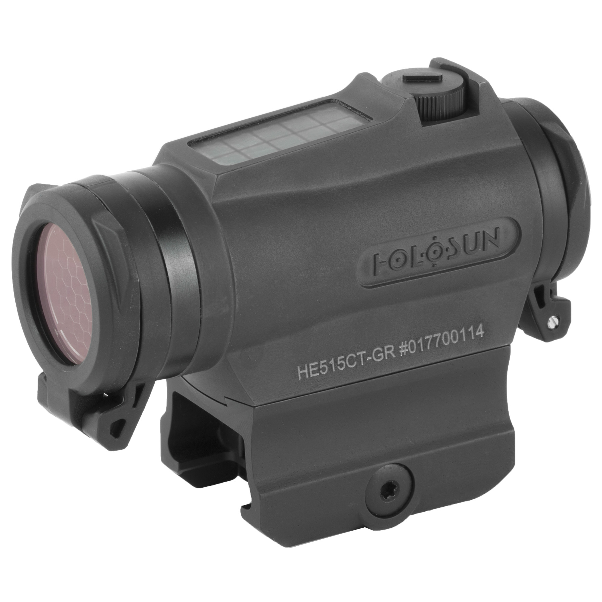 """The 515CT is a compact 20mm micro optic packed with innovations. Featuring Holosun's Multi-reticle system"""" the 515CT allows the operator to switch from a 2 MOA dot to a 65 MOA circle dot with a push of a button. Holosun's highly efficient light emitting diodes and Solar Fail-safe technology allow the 515CT optics to run without a battery in many lighting conditions. Additionally"""" the CR2032 battery lasts up to 5-years. The 515CT is housed in CNC machined Titanium and comes with removable"""" non-obstructing"""" clear flip-up lens covers and kill flash. Holosun's Shake Awake technology puts the optic to sleep with no motion and wakes it up"""" recalling the last setting with the slightest movement"""" conserving battery life even further. The HE515CT is built for all your needs no matter the weapon platform"""" environment"""" or type of use."""