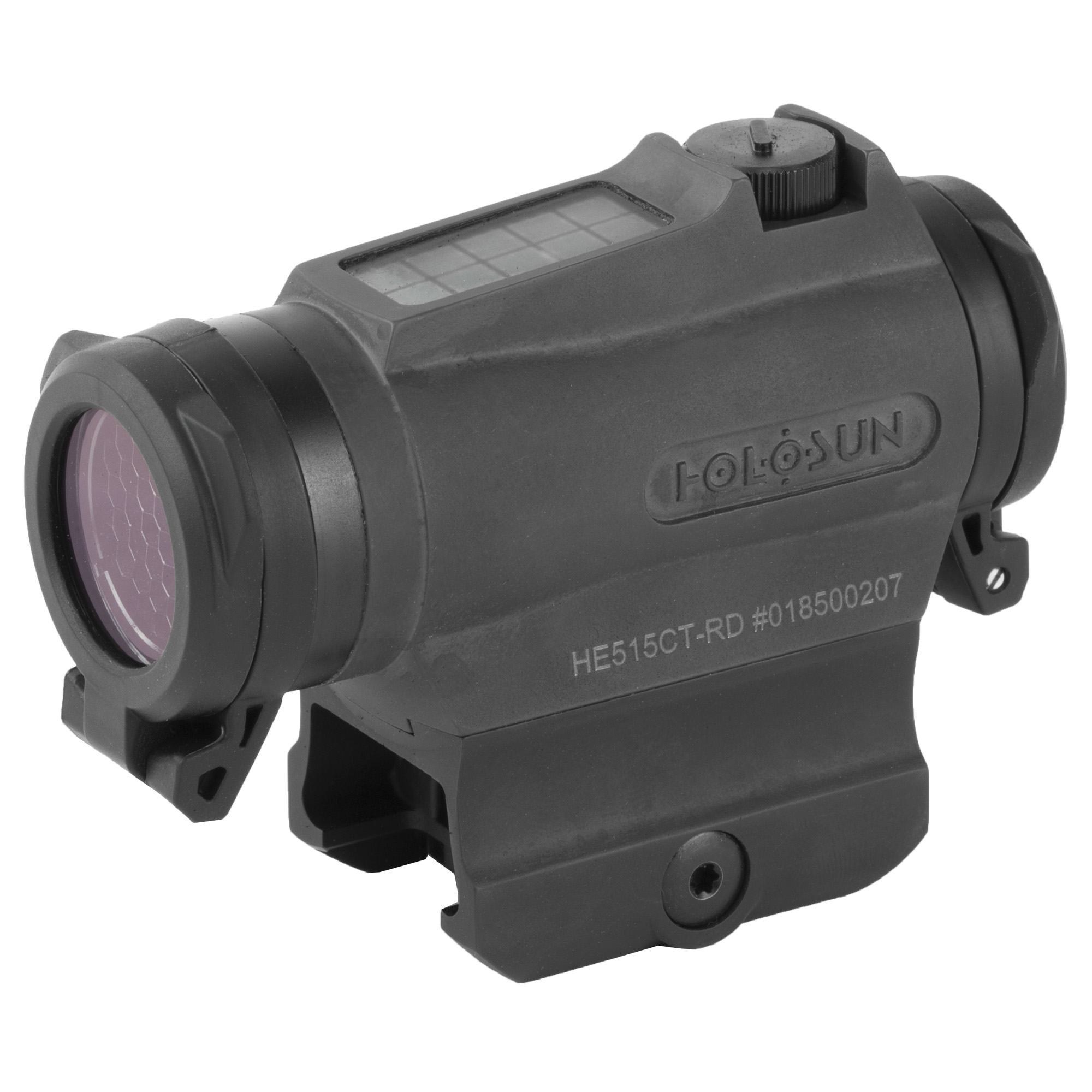 """The 515CT is a compact 20mm micro optic packed with innovations. Featuring our Multi-reticle system"""" the 515CT allows the operator to switch from a 2 MOA dot to a 65 MOA circle dot with a push of a button. Our highly efficient light emitting diodes and Solar Fail-safe technology allow the 515CT optics to run without a battery in many lighting conditions. Additionally"""" the CR2032 battery lasts up to 5-years. The 515CT is housed in CNC machined Titanium and comes with removable"""" non-obstructing"""" clear flip-up lens covers and kill flash. Holosun's Shake Awake technology puts the optic to sleep with no motion and wakes it up"""" recalling the last setting with the slightest movement"""" conserving battery life even further. The HE515CT is built for all your needs no matter the weapon platform"""" environment"""" or type of use."""