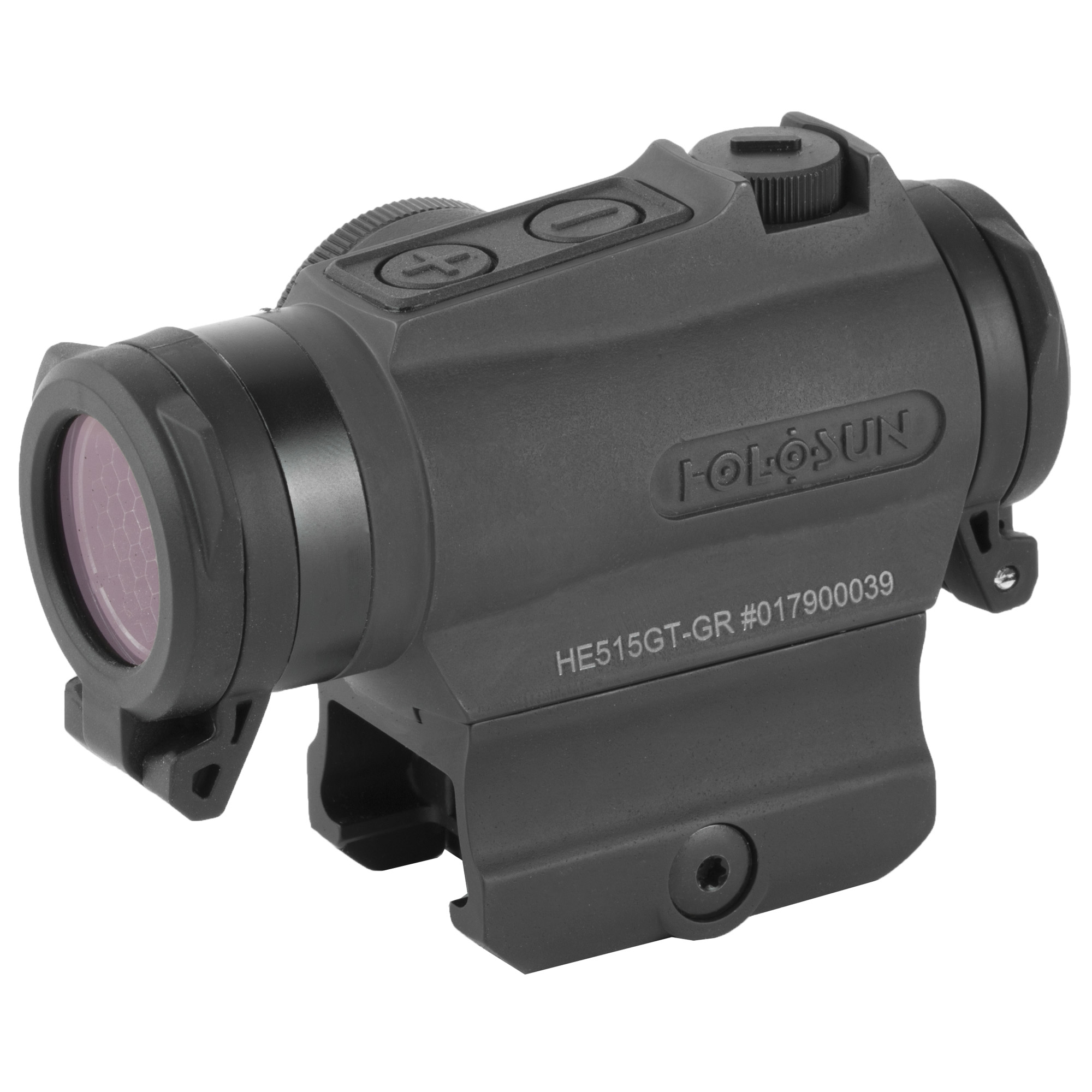 """The 515GT is a compact 20mm micro optic packed with innovations. Featuring Holosun's Multi-reticle system"""" the 515GT allows the operator to switch from a 2 MOA dot to a 65 MOA circle dot with a push of a button. Holosun's highly efficient light emitting diodes allow the 515GT optic to run on a CR2032 battery up to 5-years. The 515GT is housed in CNC machined Titanium and comes with removable"""" non-obstructing"""" clear flip-up lens covers and kill flash. Holosun's Shake Awake technology puts the optic to sleep with no motion and wakes it up"""" recalling the last setting with the slightest movement"""" conserving battery life even further. The HE515GT is built for all your needs no matter the weapon platform"""" environment"""" or type of use."""