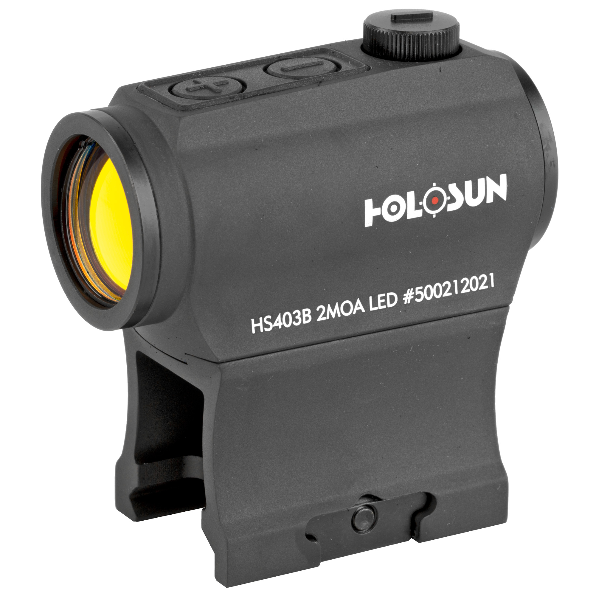 """The 403B is a small compact micro red dot optic. Employing Holosun's LED technology"""" the lifetime for one CR2032 battery can be up to 5 years. This optic features Holosun's """"Shake Awake"""" technology that powers the optic on with slight movement of the 403B. It may be installed on various firearms such as shotguns"""" pistols"""" air rifles and crossbows. The HS403B is compatible with standard mounts."""