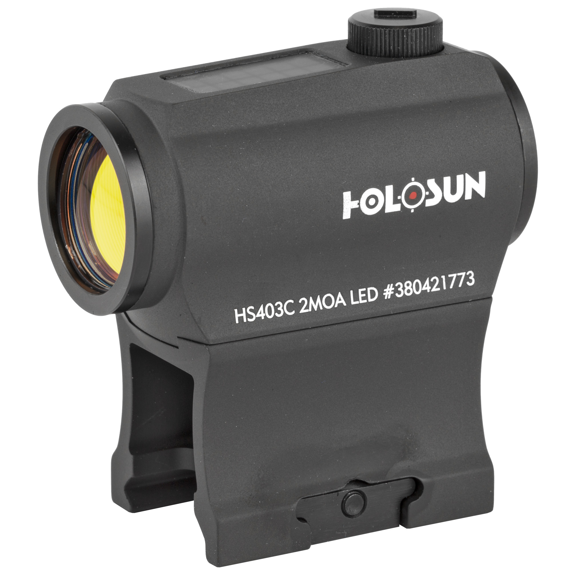 """The HS403C is a solar version of the successful HS403A. Holosun's highly efficient light emitting diodes and solar panels allow Holosun solar optics to run without a battery in many lighting conditions. Additionally"""" the back-up battery lasts up to 5-years. The HS403C is compatible with standard mounts."""