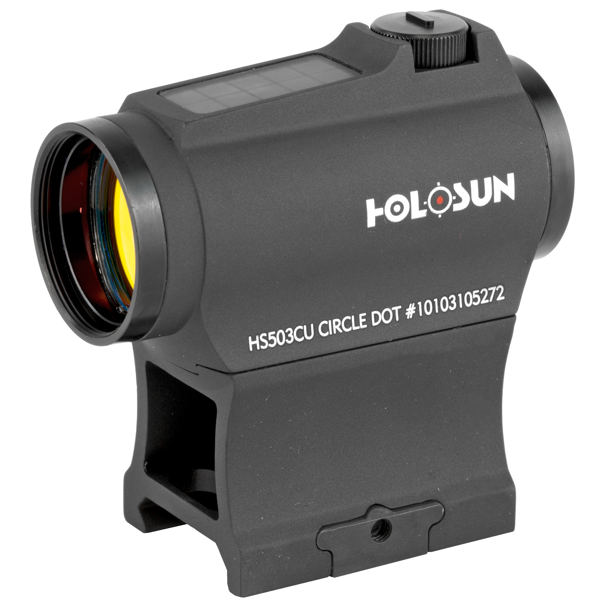 """The HS503CU is a new micro red dot optic equipped with a 65 MOA circle dot reticle with the option of switching to a 2MOA dot only. Holosun's highly efficient light emitting diodes and solar panels allow Holosun solar optics to run without a battery in many lighting conditions. Additionally"""" the back-up battery lasts up to 5-years on the dot and up to 2 years on the circle dot. The """"U"""" signifies a housing design that shrouds the windage and elevation turrets on two sides."""