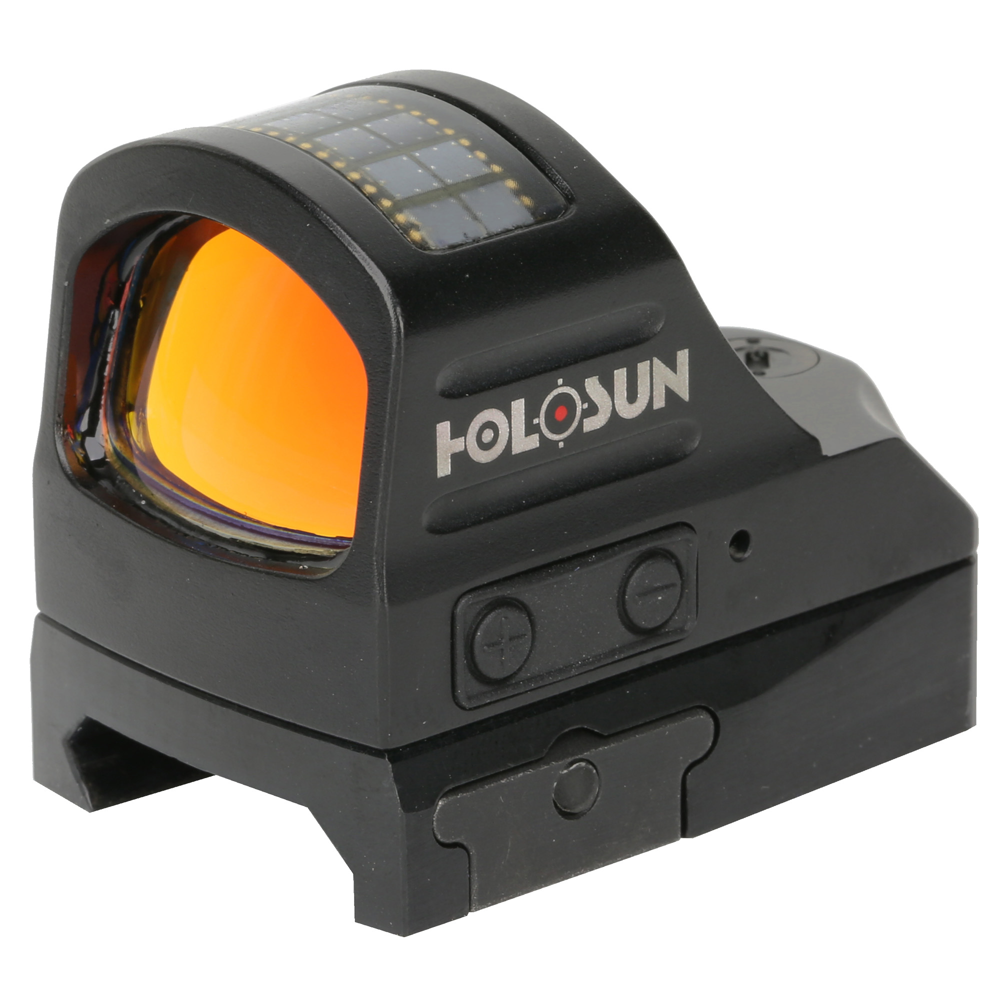 """The new HS507C Micro Red Dot System from Holosun is a pistol-sized optic with an open frame for a great sight picture"""" clear glass and a rugged 7075 aluminum housing. It is powered by a CR2032 battery and Holosun's innovative Solar Fail-safe back up. The HS507C will run up to 10 years on a single battery on setting 6"""" dot only. Featuring Holosun's Multi-reticle system"""" the HS507C allows the operator to switch the reticle between a 32 MOA circle with 2 MOA dot"""" a 2 MOA dot only"""" or a 32 MOA ring only"""" all at the push of a button. Better yet"""" the same LED projects all three reticles"""" so no re-zeroing is necessary. It comes equipped with Holosun's Shake Awake technology with last setting recall. This optic has our features in one tough"""" small package"""
