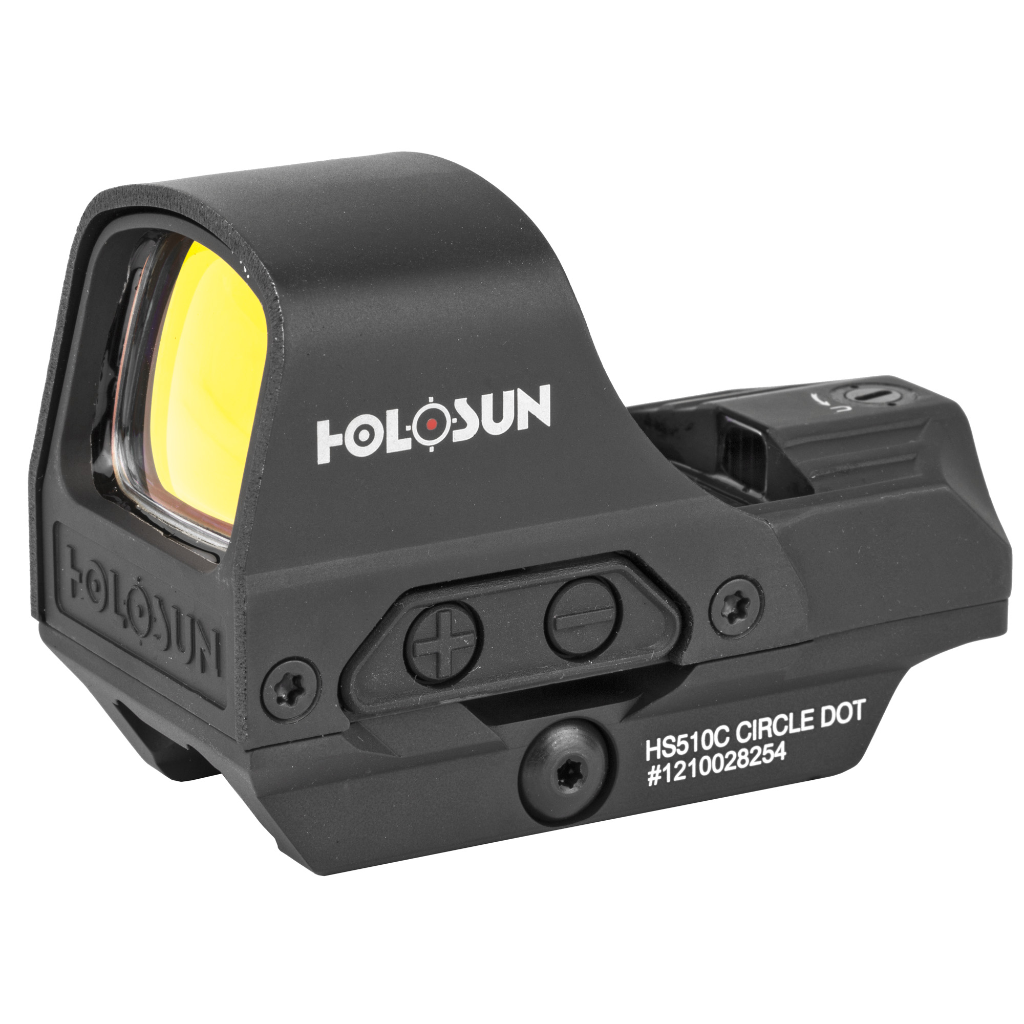 """The HS510C Open Reflex Circle Dot Sight has an open frame for a wide sight picture. It is powered by solar cell under normal usage"""" and a back-up battery to supplement power requirements in low light conditions. The reticle can be switched between a 65 MOA circle with 2 MOA dot"""" a 2 MOA dot only"""" or a 65 MOA ring only at the push of a button. Better yet"""" the same LED projects both reticles"""" so no re-zeroing is necessary."""