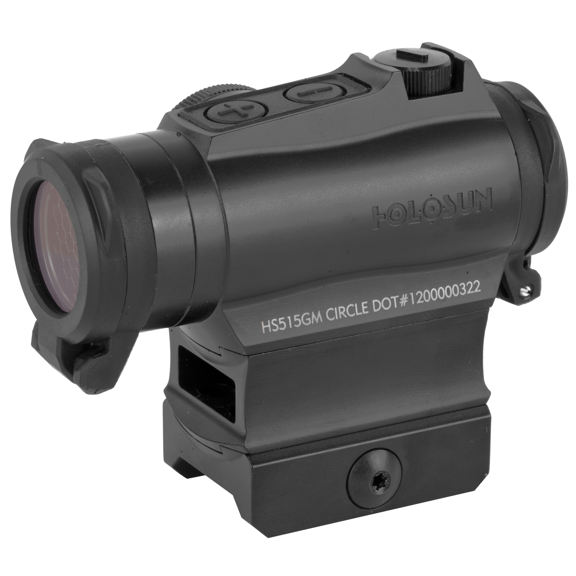 """The HS515GM is a micro red dot optic equipped with a 65 MOA circle dot reticle with the option of switching to a 2MOA dot only. The """"G"""" signifies that the battery is side mounted on the side of the optic. Employing new LED technology"""" the life-time for one CR2032 battery can reach 5 years on the 2 MOA dot. Holosun's """"Shake Awake"""" technology automatically turns the optic on at the slightest movement. When the optic senses no movement"""" it will go to sleep. This product includes clear flip-up lens covers"""" a quick release mount and a kill flash filter."""