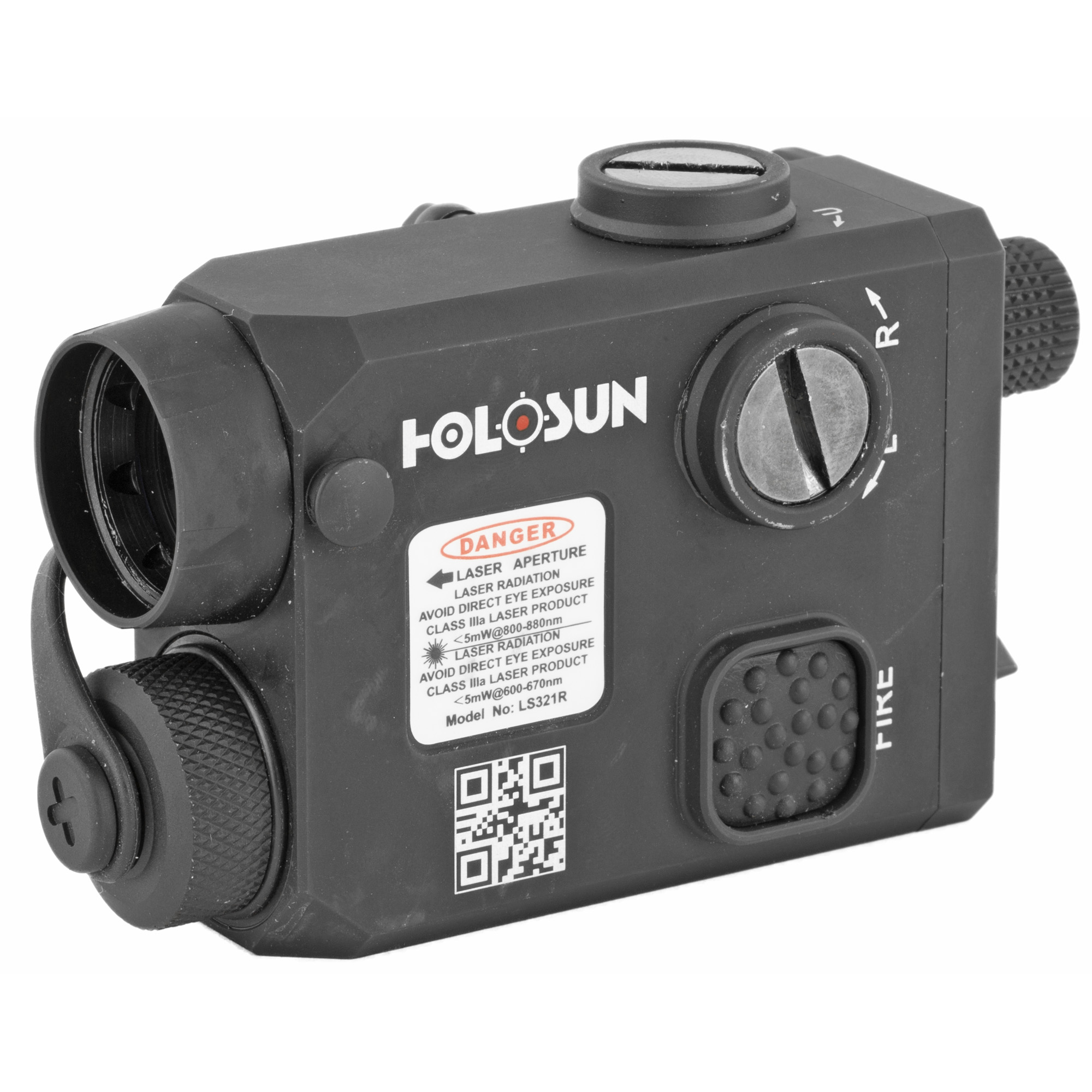 """LS321 is a multi-laser device that integrates red laser"""" IR laser and IR illuminator. It has a mode selector to choose the different functions. The operator uses W&E adjuster to adjust the 3 laser beams at the same time. The IR illuminator-focusing knob is located at the rear of the unit for ease of adjustment for operator."""