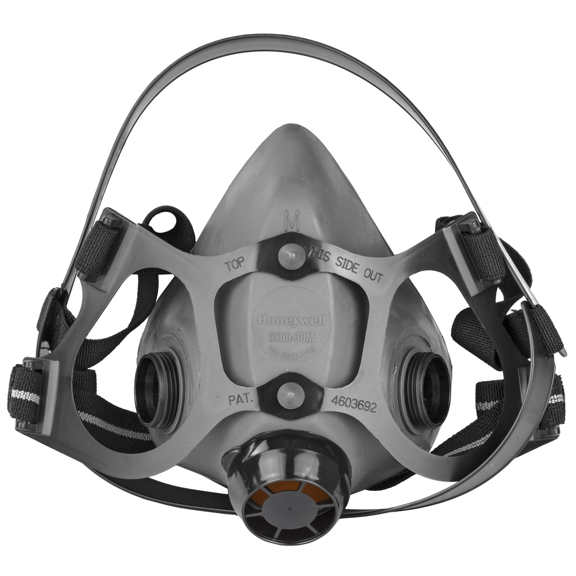 """The Elastomer half mask is the economical solution that does not skimp on features. A wide contoured sealing area provides great fit. The low """"dead air"""" space limits re-breathing of exhaled air for increase comfort and worker productivity. Latex free straps stretch and move with the worker while providing optimum support."""