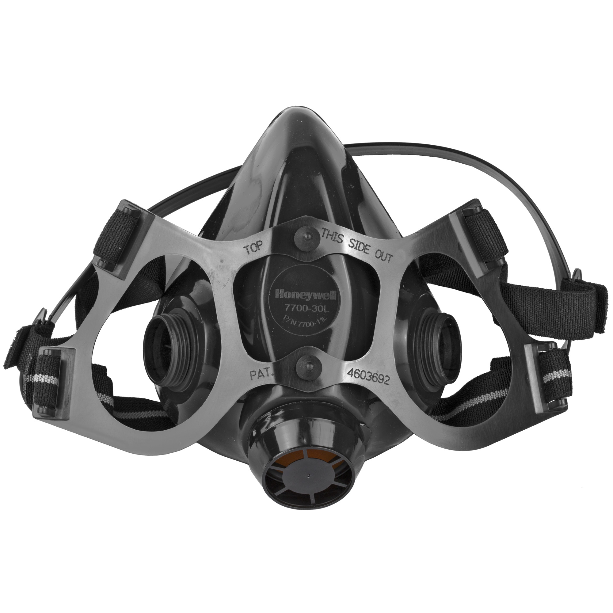 """The 7700 Series is the benchmark in half masks. Made from 100% medical grade silicone"""" the wide sealing area provides exceptional fit and comfort. Cradle suspension features woven straps that provide for maximum mobility without sacrificing support. Easily converts to PAPR or supplied air."""