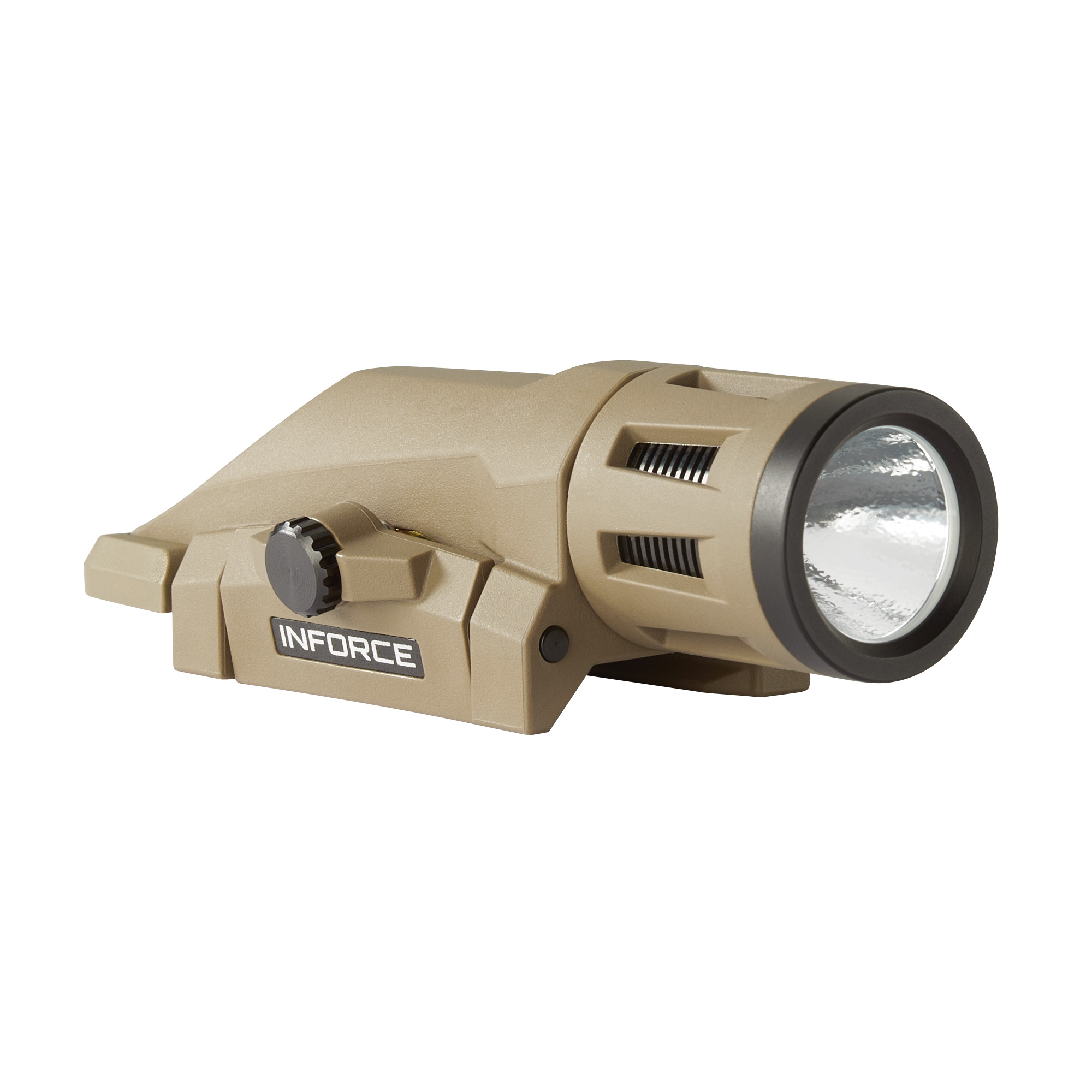 """With 400 lumens of vibrant white light"""" Inforce's WML Series is ultra-compact"""" durable"""" and offers three operating modes: constant"""" momentary and strobe. Extensively tested for performance"""" durability and reliability"""" its high efficiency emitters provide up to 1.5 hours of runtime. This 3-ounce weapon light's concentrated"""" high-intensity beam fills your field of view for close to mid-range target identification. The strobe function is easily disabled and the easy-to-operate logout system ensures the light isn't turned on until you're ready. Our all-inclusive rail clamping design integrates seamlessly with your weapon"""" providing simple"""" fast mounting with no need for additional tools."""