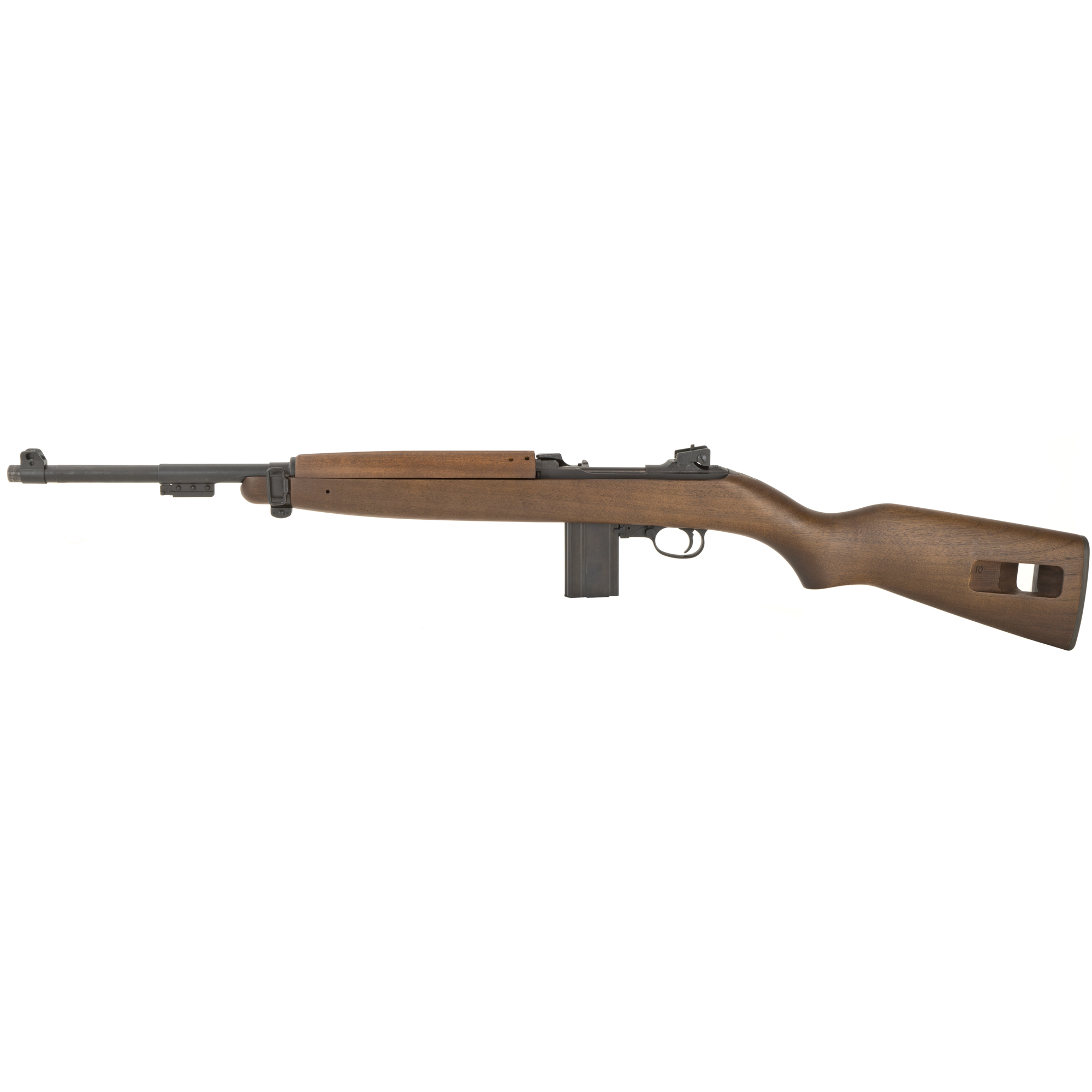 "The M1 carbine is modeled after the last production model that Inland manufactured in 1945 and features a type 3 bayonet lug / barrel band"" adjustable rear sight"" push button safety"" round bolt"" ""low wood"" walnut stock"" and a 15-round magazine."