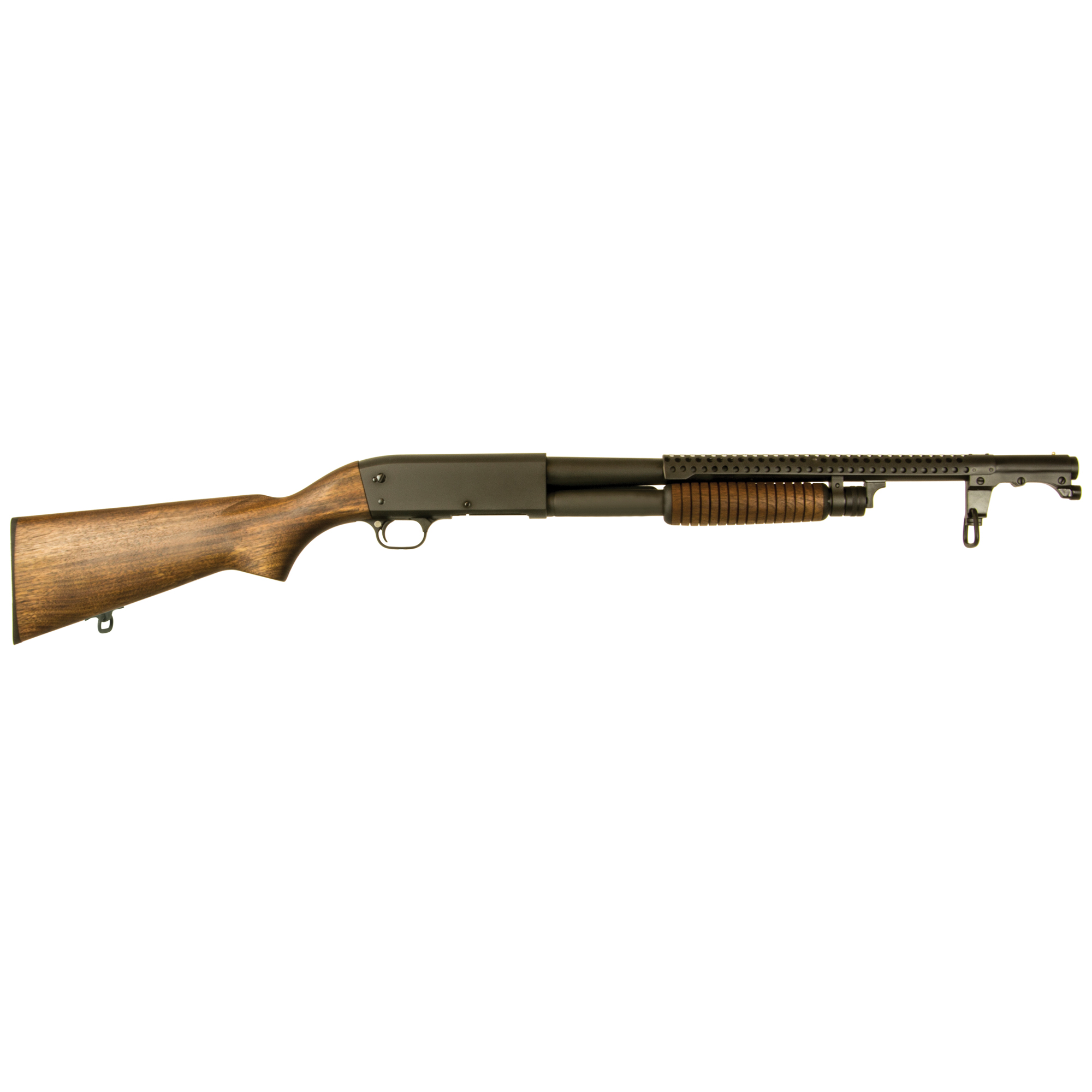 "The Inland M37 Trench Shotgun is faithful to the original from its bead sight"" Parkerized finish"" oiled stock and ventilated hand guard. The Inland M37 is based on the original Ithaca Model 37 Trench Gun which was a variation of the Browning Model 17."