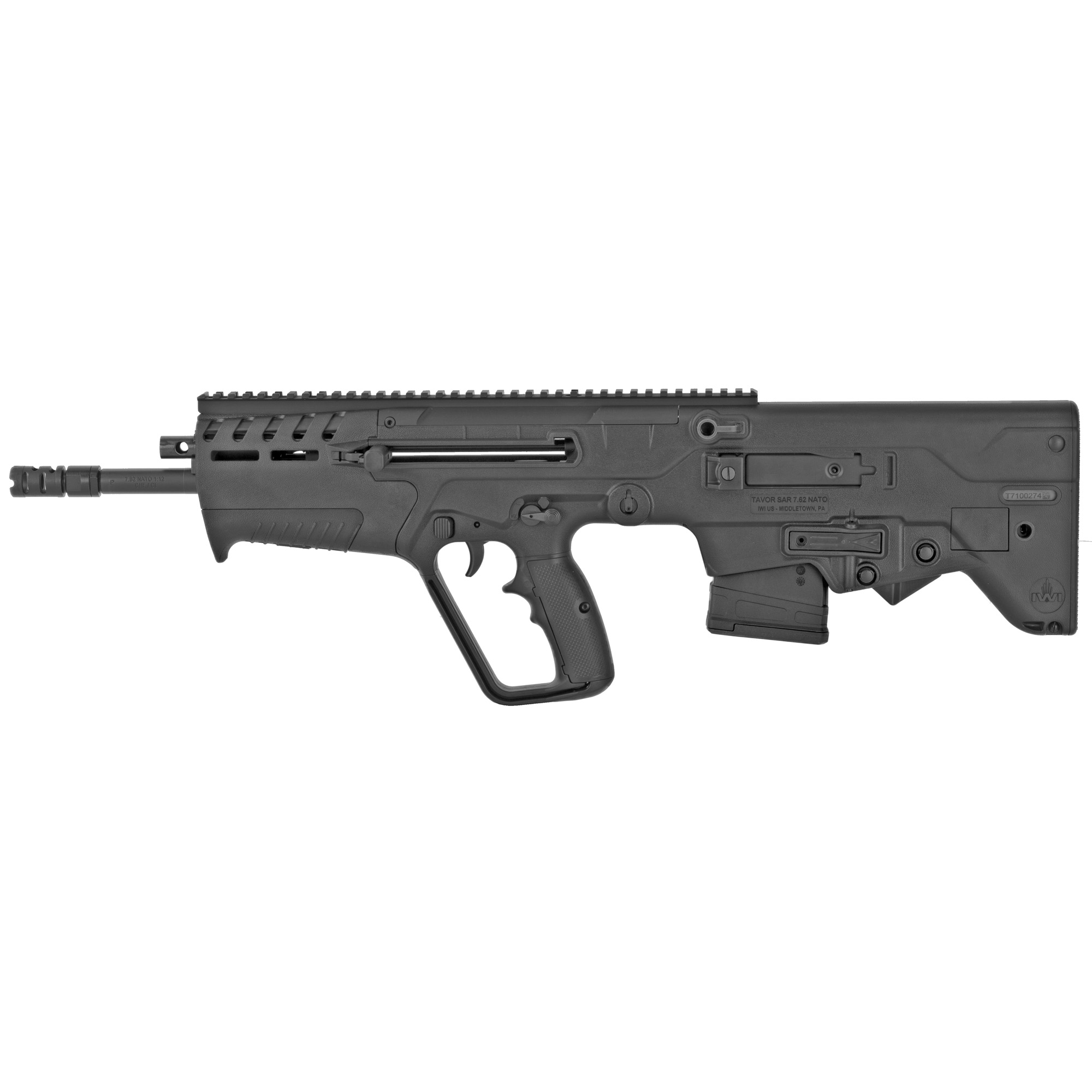 """The Tavor 7 is the next evolutionary step in the Tavor bullpup family. Based on requests from military and civilian customers alike"""" the Tavor 7 is IWI's introduction into the 7.62x51 bullpup rifle offering. The Tavor carries the usual reliability expected of all IWI products with some increased ergonomic features. This includes the ability to lock the charging handle without the use of the bolt catch. It also maintains the M4 type ambidextrous magazine release system and 45 degree ambidextrous safety."""