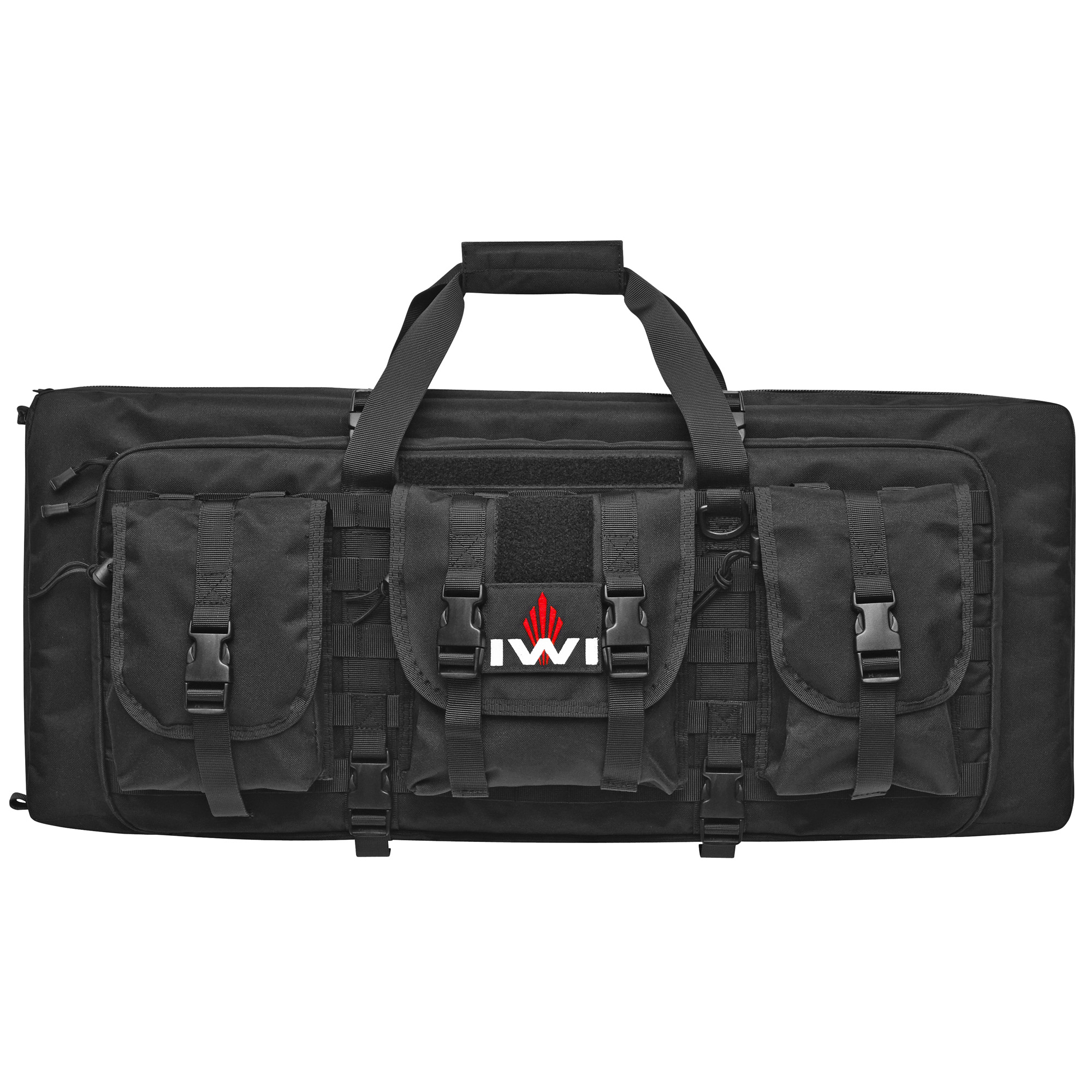 """Two large heavily cushioned and secured compartments hold both your Tavor and Tavor 9 mm Conversion Kit in one case. Molle compatible webbing on the exterior of the case comes standard with three gusseted pouches lined with water resistant interiors. Elastic webbing on the interior"""" opposite the conversion kit compartments"""" holds up to five 30 round 5.56 NATO magazines and five 32 round 9 mm magazines."""
