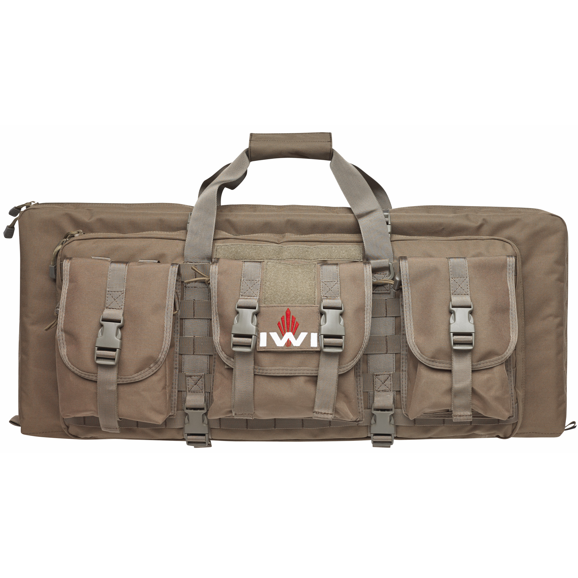 """Two large heavily-cushioned and secured compartments hold both your Tavor(R) and two large handguns in one case. Molle compatible webbing on the exterior of the case comes standard with three gusseted pouches lined with water resistant interiors. Elastic webbing on the interior"""" opposite the handgun pockets"""" holds up to five 30 round 5.56 NATO magazines and multiple pistol magazines."""