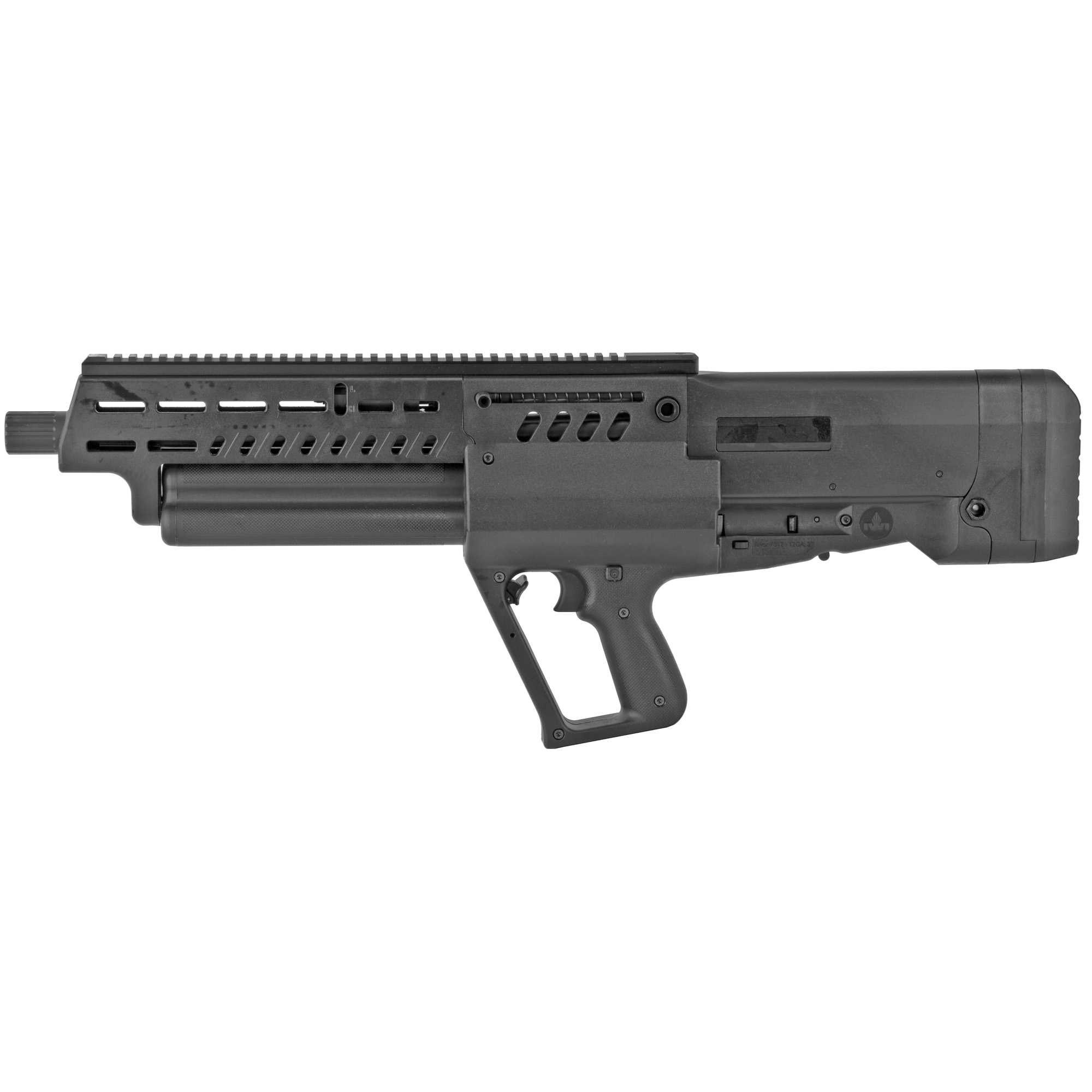 The Tavor TS12 12 gauge shotgun is a gas regulated bullpup shotgun that can be configured for either right or left side ejection and operation. It feeds from one of three magazine tubes which can hold four 3 inch shotgun shells or five 2 3/4 inch shotgun shells. This means that the potential magazine capacity is 15 rounds plus one additional round in the chamber.