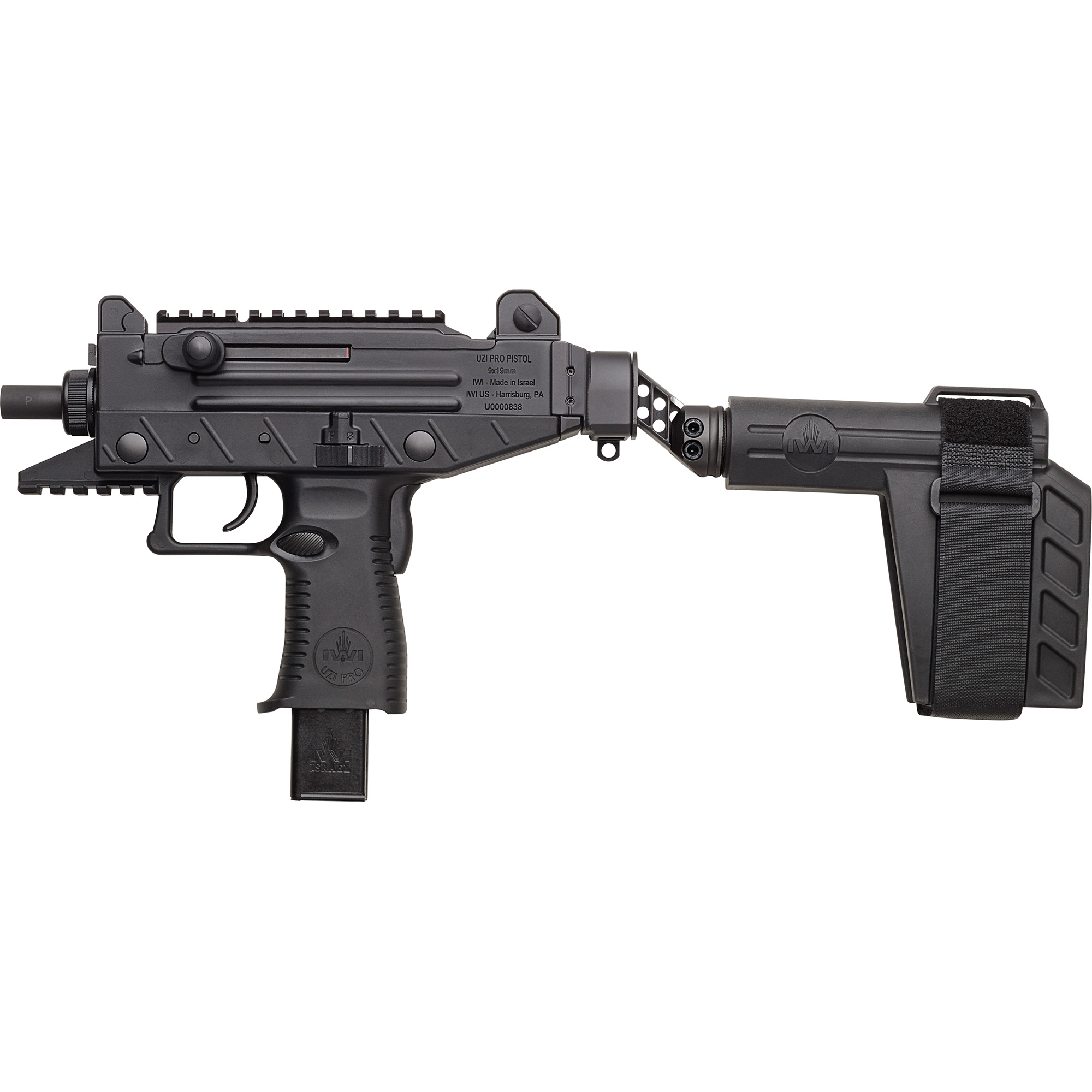 """The UZI PRO SB features a side-folding Stabilizing Brace"""" produced for IWI US by SB Tactical LLC"""" designers and manufacturers of the original SB15 and SB47 Pistol Stabilizing Braces. Originally designed as a means for persons with limited mobility to operate and fire the AR-15 pistol"""" the custom adaptation of the Stabilizing Brace to the UZI PRO SB takes the application of large frame pistol control and stabilization to a new level. With the IWI brace's unique side folding feature"""" the UZI PRO SB can be fired with or without the brace extended depending on the shooters need. With the brace in the folded position"""" storage space required in your safe or range bag is minimized. In all other respects"""" the UZI PRO UPP9SB is identical to the UPP9S."""