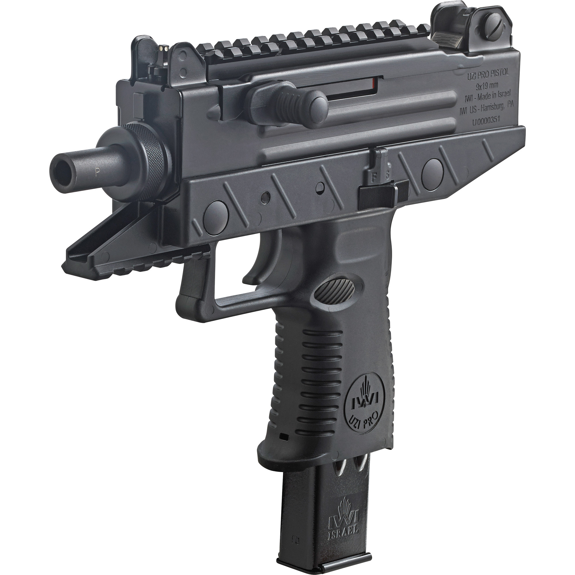 """The UZI PRO pistol is a modernized Micro UZI semi-auto pistol based on the world famous UZI sub-machinegun"""" variations of which have sold in excess of 2""""000""""000 units worldwide. The new blow-back operated 9mm UZI PRO incorporates advanced polymers in the lower section of the receiver resulting in lighter weight and relocation of the magazine release to a more practical and traditional pistol based location. Unlike earlier UZI models"""" the charging handle has been moved from the top of the pistol to the left side of the receiver. This allows the addition of a full length Picatinny rail to the top of the pistol"""" permitting the use of any optical device that utilizes a Picatinny rail clamp mount. An additional Picatinny rail is incorporated in the polymer lower that allows the use of lights and/or lasers to be mounted directly under the barrel."""