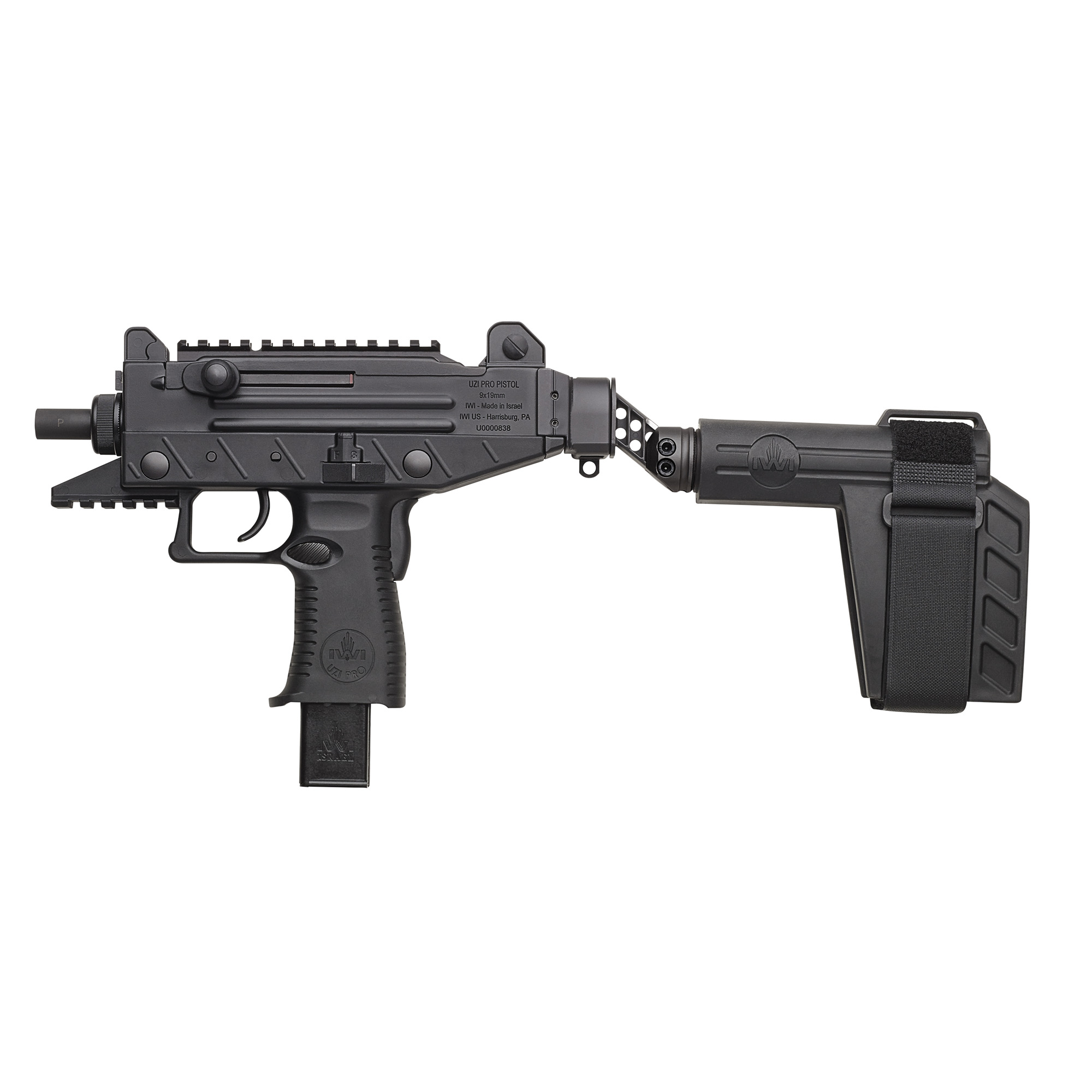 """IWI US"""" Inc.'s Pistol Stabilizing Brace with hinge mount will fit most Uzi Clones. The pistol brace has a side folding adapter for compact transport and storage. The brace is used by strapping it to the forearm. It is made of polymer material with an adjustable nylon stabilizing strap with a Velcro closure."""