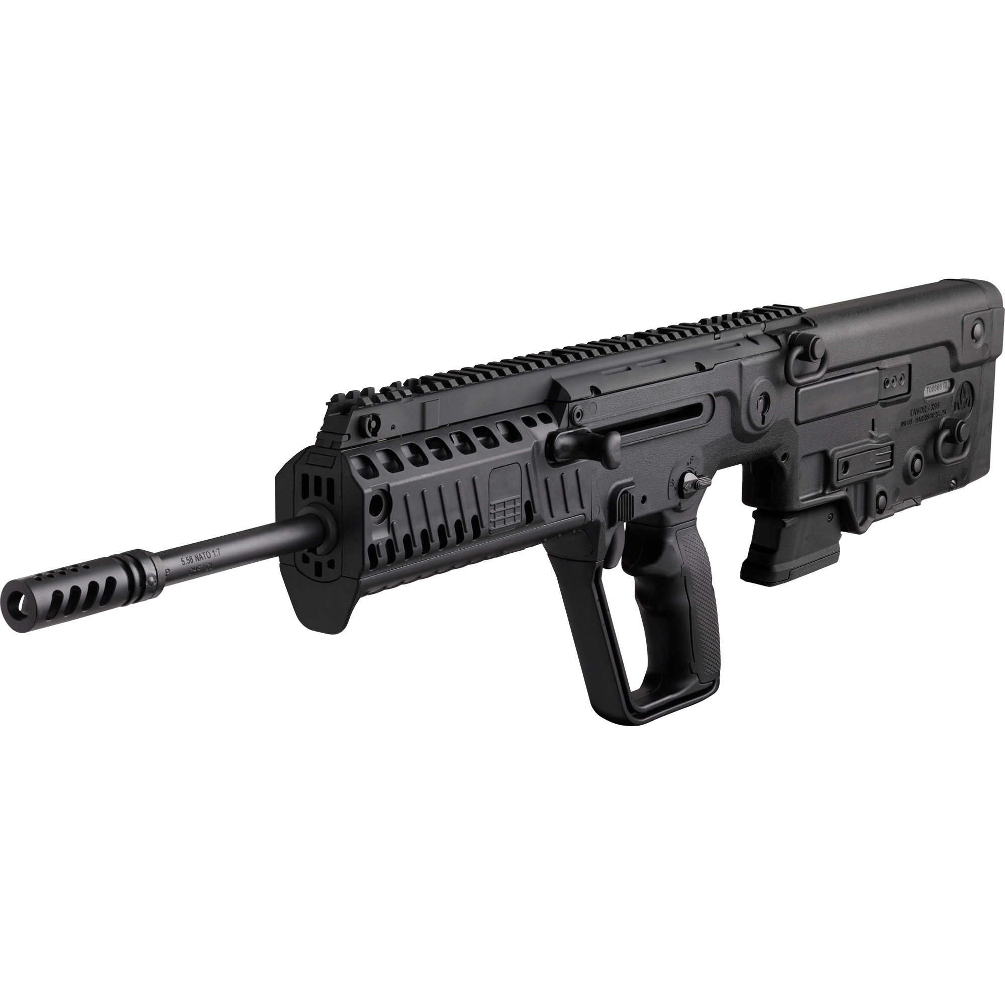 """The Tavor(R) X95(TM) is the next generation bullpup from IWI US"""" Inc. Upgrades and enhancements from the original TAVOR(R) SAR include a new fire control pack with a 5-6 lb. trigger pull"""" repositioning of the ambidextrous mag release to an AR-15 location"""" a forearm with Picatinny rails at the 3"""" 6"""" and 9 o'clock positions with removable rail covers"""" relocation of the charging handle closer to your center mass"""" a modular Tavor style pistol grip that can be swapped out to a standard pistol grip with traditional trigger guard and a smaller"""" lower profile bolt release button."""