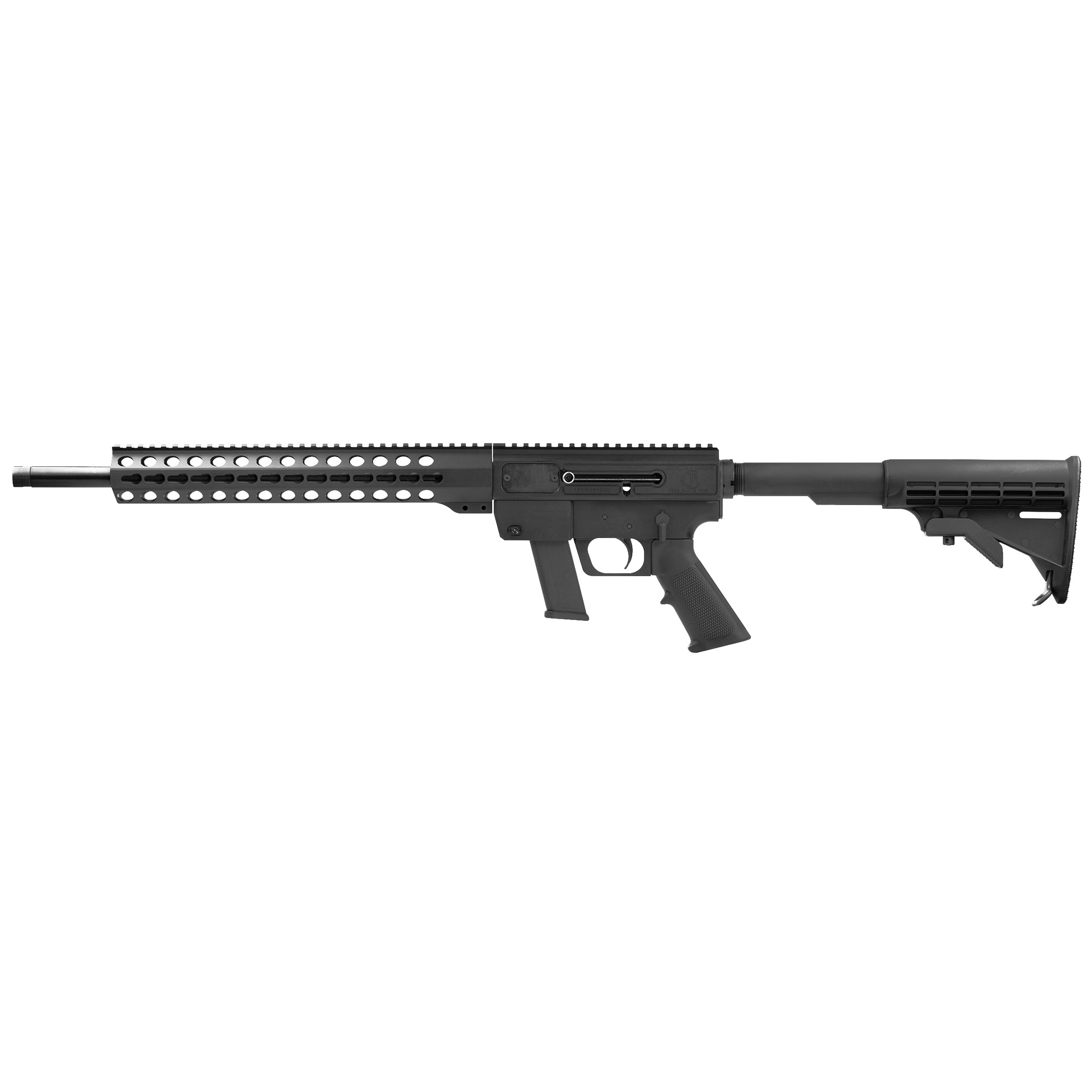 """The JRC Gen3 features 6061-T6 aluminum construction"""" ambidextrous ejection and charging"""" and a 4140 chromoly button rifled barrel."""