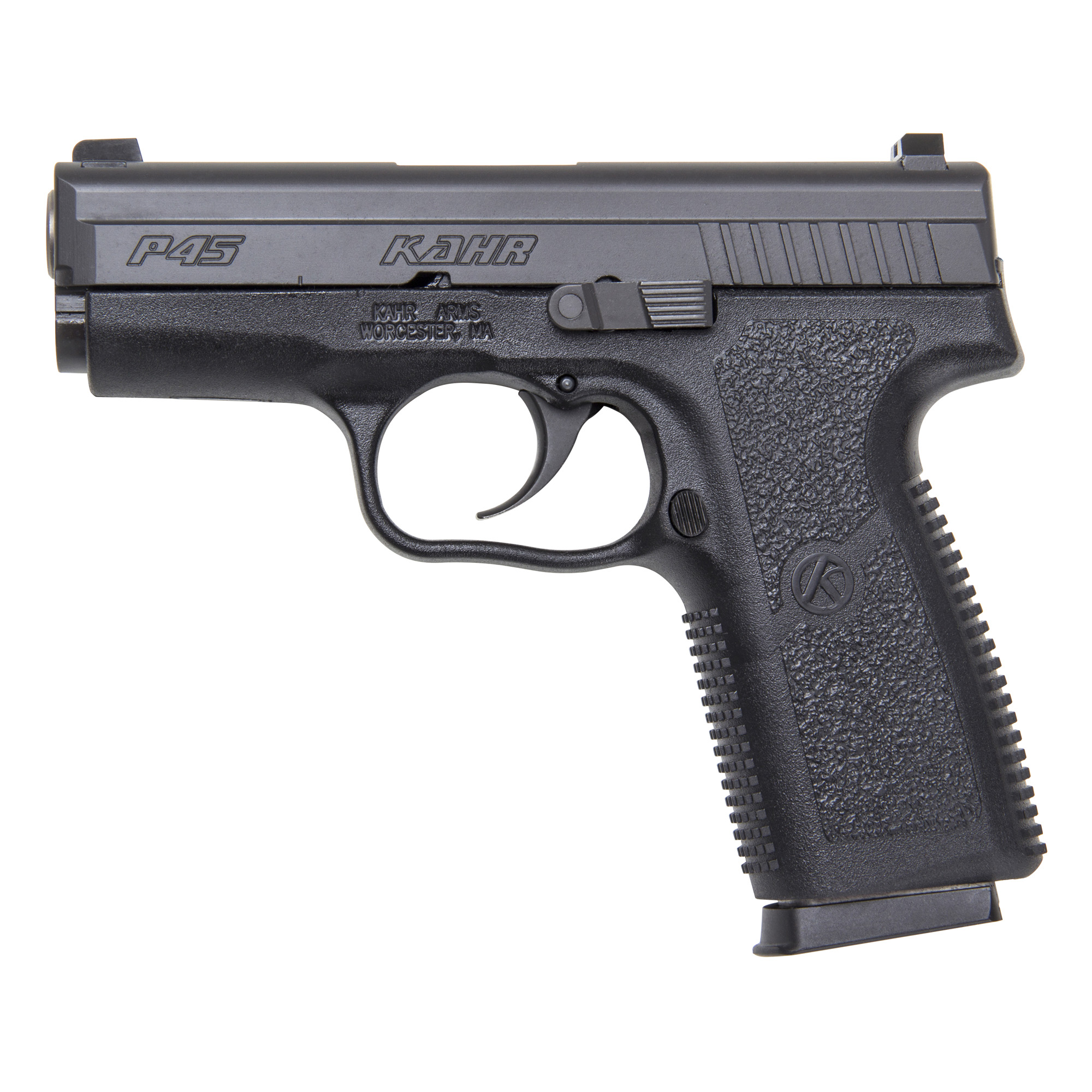"""Kahr Arms offers the best concealed carry/back-up gun on the market by offering high quality and total reliability in a lightweight package. Featuring a Lothar Walther match-grade polygonal-rifled barrel and silky smooth DAO trigger"""" the P Series provides excellent balance and accuracy."""