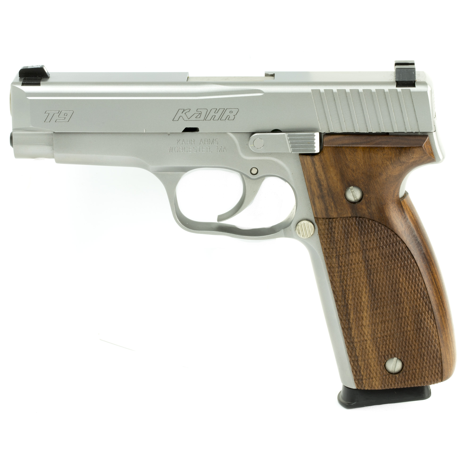 """Kahr Arms T Series offers a full size carry gun with a thin profile in both steel and polymer frames. Featuring a Lothar Walther 4"""" match-grade polygonal-rifled barrel and silky smooth DAO trigger"""" this series provides excellent balance and accuracy."""