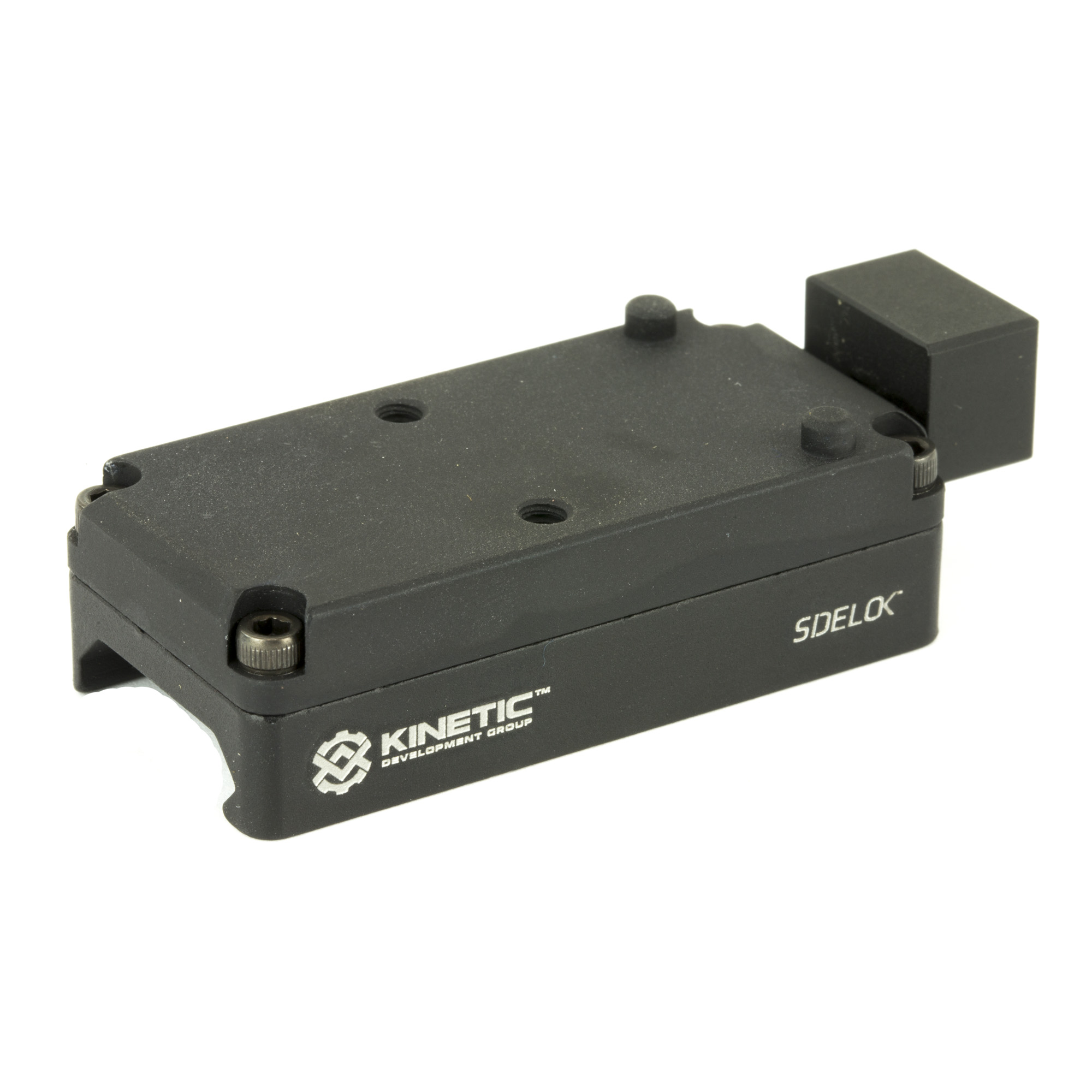 """The KDG RMR Low Profile Sidelok mount allows for the popular Trijicon RMR optic"""" and other brands that share the same mounting base to benefit from KDG Sidelok Technology! The lightweight"""" 2.4 oz. mount pairs with all models of RMR to carry an overall weight of 3.4 oz. assembled. Made from high strength billet 6061 aluminum"""" the Sidelok mount allows for instant attachment or detachment of the optic to the firearm. This is facilitated with no tools or adjustments"""" can be accomplished with one hand even while wearing gloves"""" and with 100% repeatable return to zero! The RMR Low Profile Sidelok mount is perfect for lightweight firearms and those that swap optics out for different shooting environments. This mount does not offer co-witness with any AR-15 style iron sights"""" but will provide a lower profile setup for those using the mount on shotguns"""" AK-47s"""" submachine guns"""" belt-fed weapon systems"""" etc."""