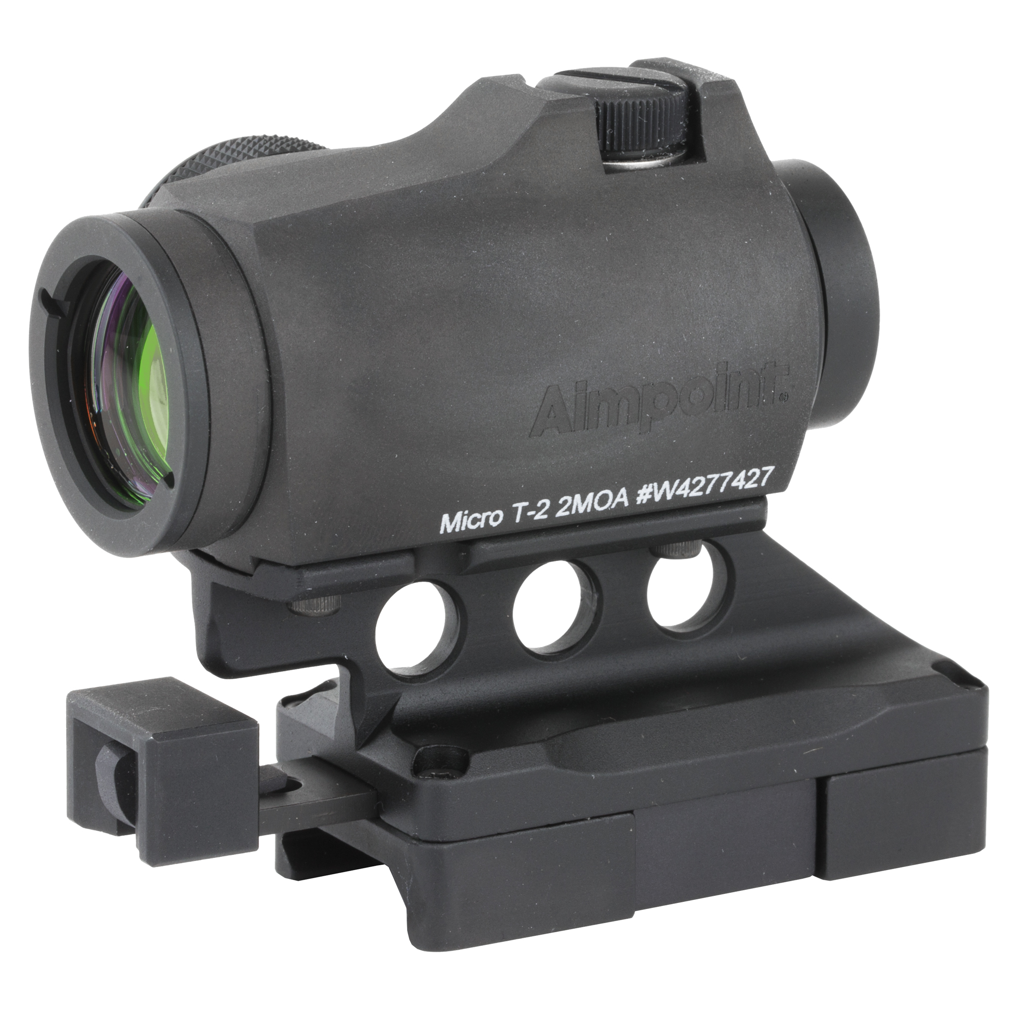 """Aimpoint T2 optic with the Sidelok mount. The Sidelok is a revolutionary new mounting system for optics. The patented cam system locks the mount down onto picatinny without the need of tools"""" side levers"""" or huge knobs. The release system allows users to change out their optics on the fly with less hassle. The 2 levels of locks (Micro Mount Specific) ensure the optic will not move unintentionally"""" maintaining zero for the shooter"""" and returning to zero when remounting in same position after removal. This mount utilizes a lower 1/3 co-witness."""