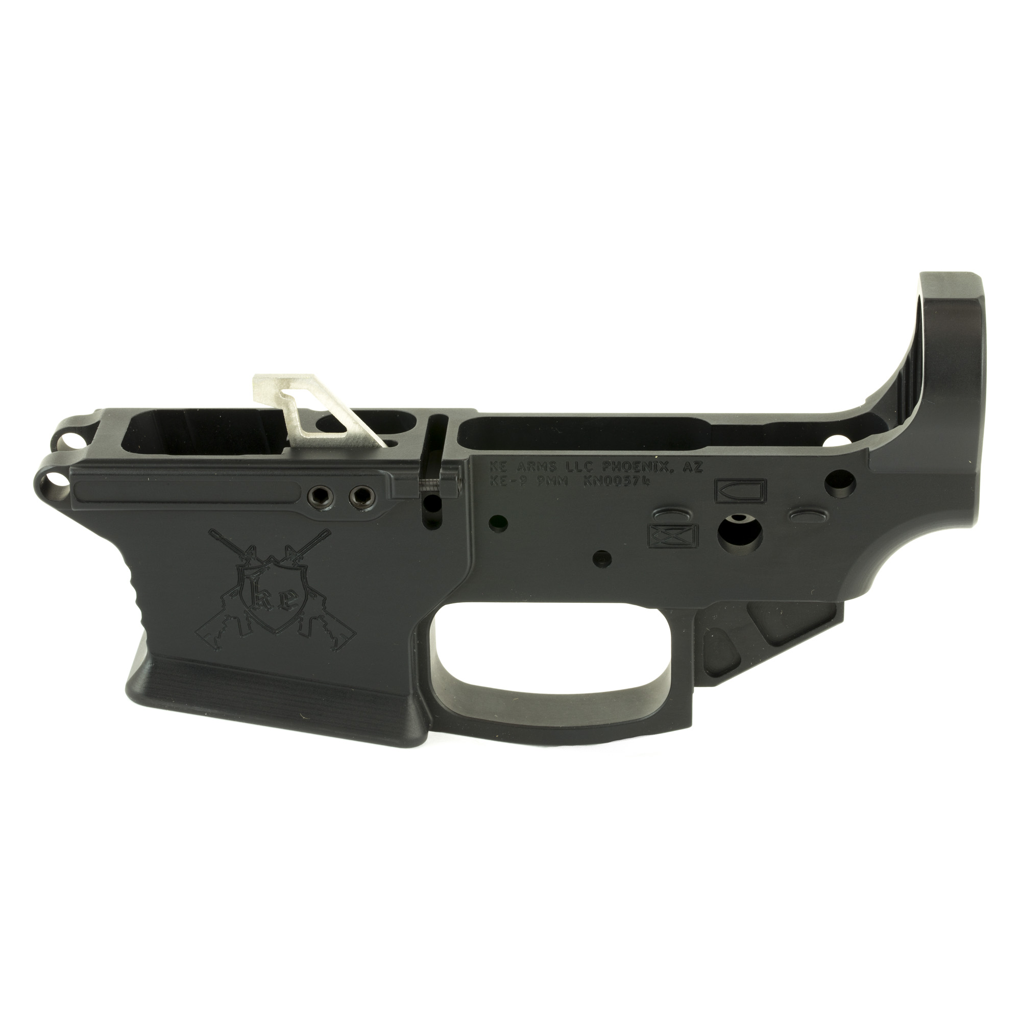 The KE-9 Billet lower receiver is precision machined in-house from hi-grade 7075 billet master plate to milspec standards making it compatible with most milspec 9mm uppers. The KE-9 accepts Glock OEM and after market Glock style magazines.