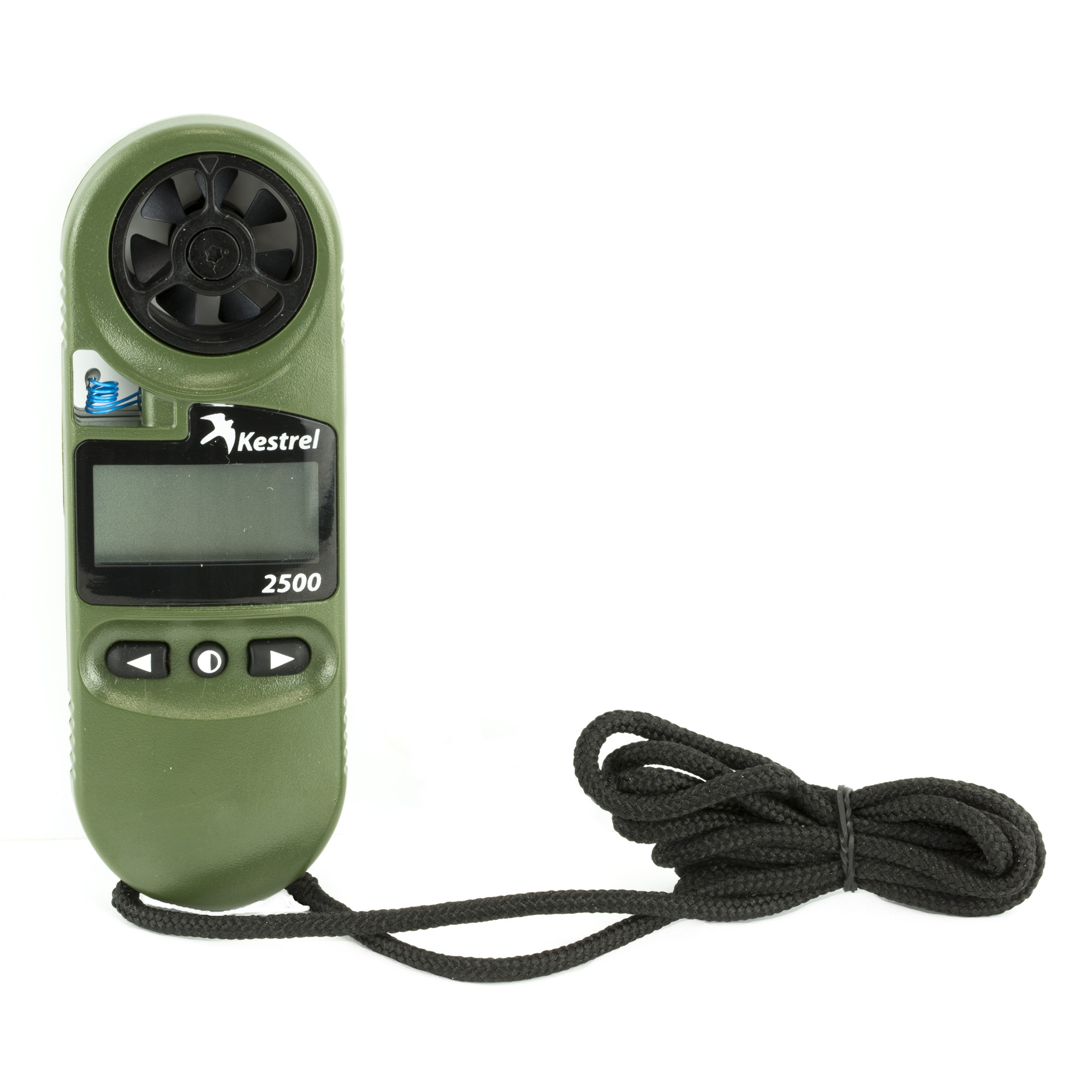 "The Kestrel 2500 Handheld Weather Meter measures wind and temperature with total accuracy"" and has the added benefits of an air pressure sensor that provides altitude and barometric information. Kestrel 2500 technology enables you to follow changes in air pressure that help predict impending changes in the weather. Factor in the 2500's digital altimeter"" and you have most of the weather information you need for outdoor activities ranging from model airplane flight to rifle practice. A quick compare chart of the basic models shows you the differences between several Kestrel models. As with all Kestrels"" the 2500's sensitive and user-replaceable impeller technology provides accurate wind speed info. Additionally"" an external temperature sensor and waterproof casing allow you to gauge the temperature of water and snow"" as well as the open air. A hard slide-on case"" lanyard"" and battery are included. The Kestrel 2500 was originated as a basic model for long range shooters at an affordable price and someone who didn't need the ballistic features built in like the 5700 Elite or any others in the Kestrel Ballistics Line of meters. A simple video shows how to achieve station pressure with a Kestrel 2500. For those using it at night"" the Olive Drab NV version of the Kestrel 2500 features a night-vision preserving backlight. This backlight incorporates an optical filter to reduce overall brightness and minimize blue and green spectrum light to preserve night vision. (Note: This backlight appears soft greyish pink"" not ""red"""" and is still in the visible spectrum"" so is not compatible with night-vision equipment"