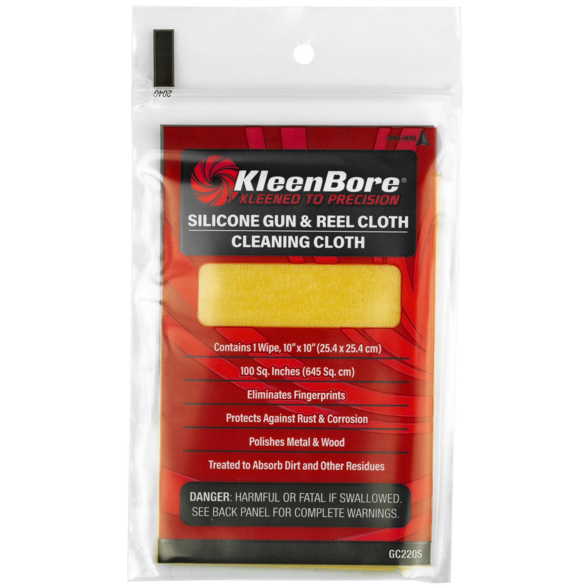 """Restore and protect the luster of your firearms with the KleenBore Silicone Gun & Reel Cloth made of top-quality silicone impregnated cotton flannel. This cloth returns a brilliant sheen to your guns surface"""" while removing handling marks and providing a layer of rust protection."""