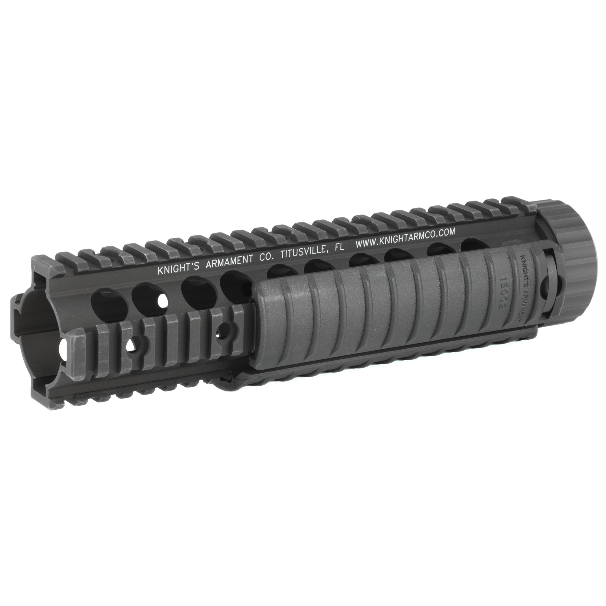 """Knights Armament Co.'s Mid-Length Free Float RAS Forend Assembly features full length mil-spec M1913 Picatinny rails making it compatible with any number of rail-mounted tactical accessories. The rail free floats the barrel"""" allowing for consistent barrel harmonics upon firing"""" and thus increased accuracy potential. Includes three KAC 11 Rib Rail Panels. This Free Float RAS requires that the rifle have a carbine or mid length gas system and a low profile gas block. Disassembly of the rifle's gas system and removal of the factory barrel nut will be necessary. This forend uses a proprietary barrel nut that may be installed using a standard AR-15 armorer's barrel nut wrench (sold separately). For AR-15/SR-15 based platforms only; not compatible with SR-25 variants. Installation instructions are included."""