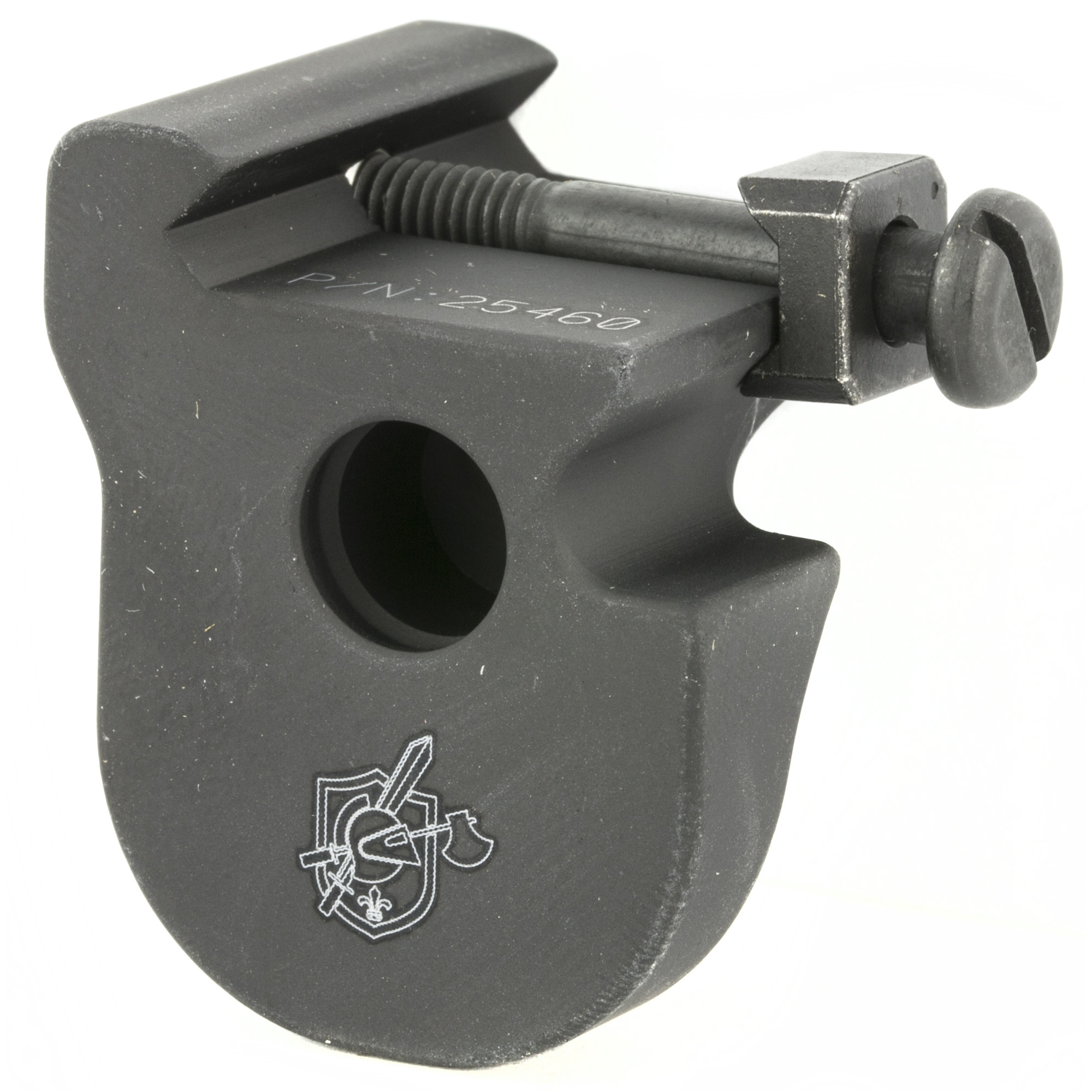 The KAC Terminator Hand stop provides a tactile reference point for the support hand that helps the shooter to acquire a consistent grip on the rifle. It features an integral QD Sling Swivel Socket on its face for increased versatility. Attaches to any M1913 Picatinny Rail surface via a screw and clamp arrangement. Push button sling swivel sold separately. Aluminum construction.