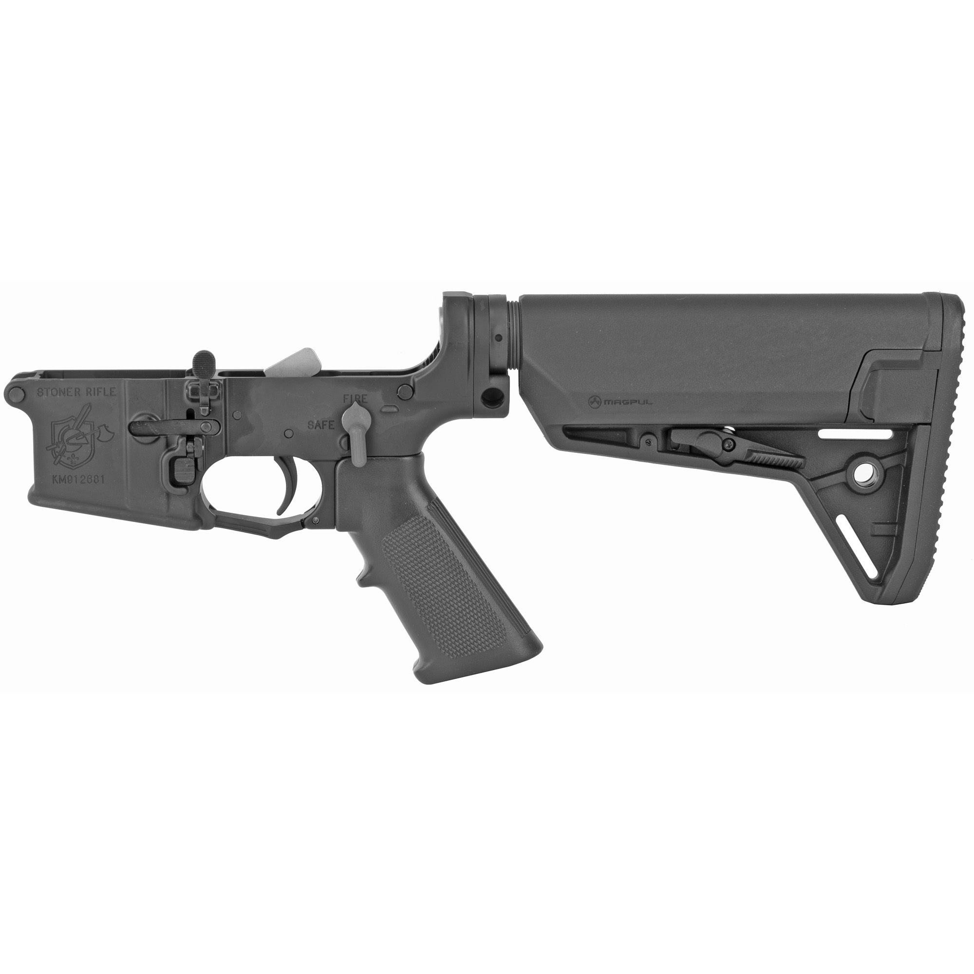 The Knight's Armament SR-15 IWS Complete Lower Receiver comes with with a Magpul stock and six-position buffer tube.