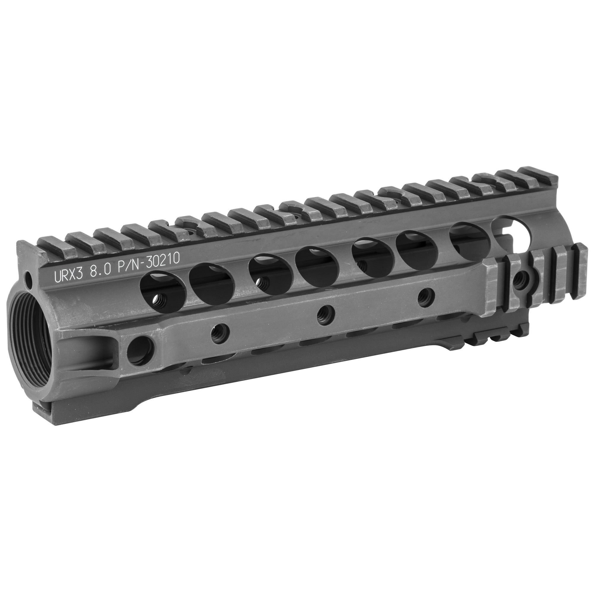 """Knights Armament Co.'s URX III 8"""" Rail Forend Assembly is a free floating"""" fully modular replacement forend for the AR-15 platform. Unlike traditional quad rail designs"""" the URX III incorporates short sections of M1913 Picatinny rail at its front end for mounting accessories"""" eliminating the commonly unused sections of rail for reduced overall weight and a more comfortable grip. A QD sling swivel socket is provided on each side at the rear of the rail for ambidextrous sling compatibility. This URX III rail requires that the rifle have a pistol or carbine length gas system and a low profile gas block. It is compatible with mid length gas systems but will leave a small portion of gas tube exposed in this configuration. Disassembly of the rifle's gas system and removal of the factory barrel nut will be necessary. This forend uses a proprietary barrel nut that MUST be installed using a KAC URX Barrel Nut Wrench. For AR-15/SR-15 based platforms only; not compatible with SR-25 variants. Installation instructions"""" barrel nut and hardware are included."""