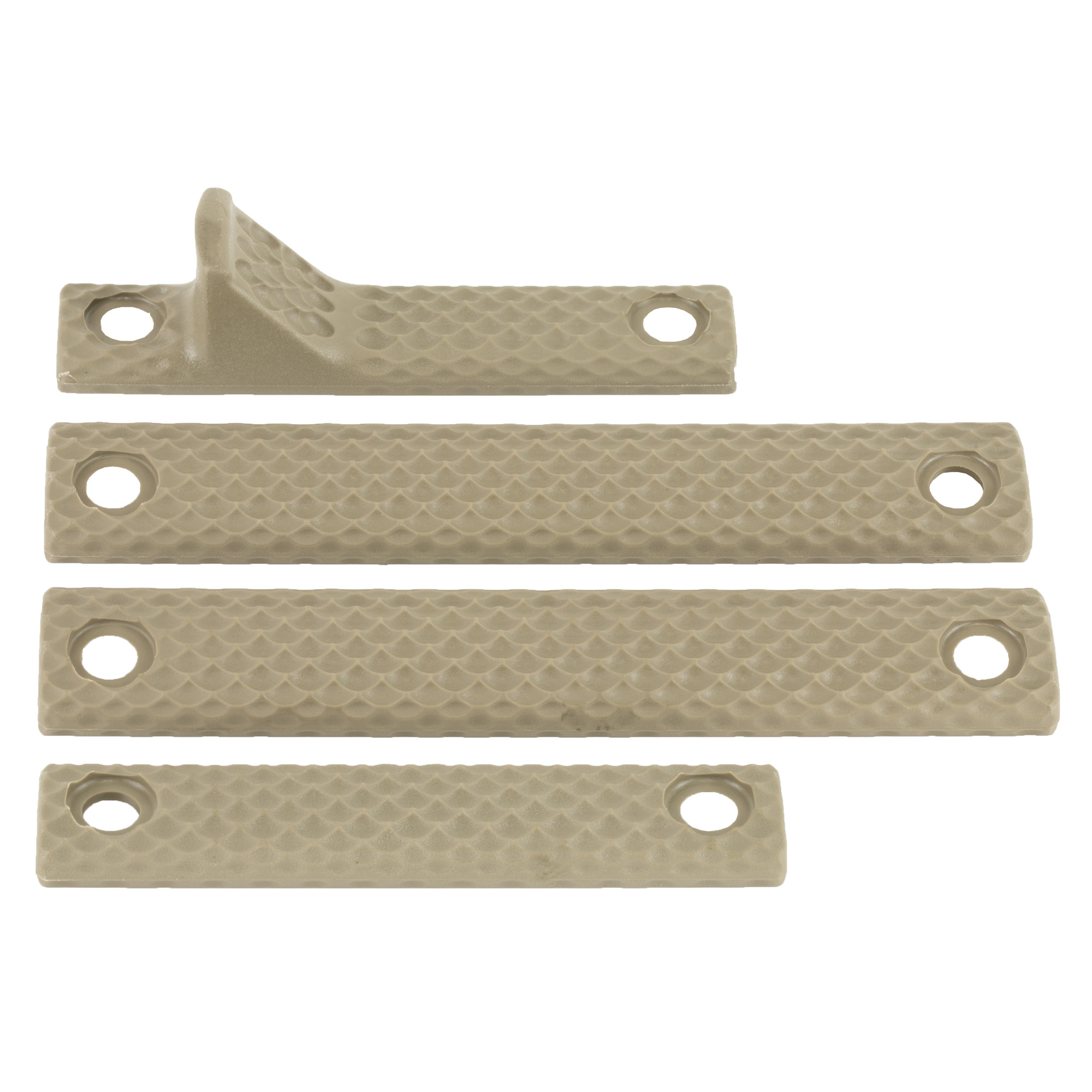 """Knights Armament Co.'s URX 3.1 Long Rail Panel Kit contains a basic assortment of protective panels that bolt directly to a Knight's Armament URX III or 3.1 handguard. The lightweight polymer panels are textured for a more secure grip"""" and help to insulate the support hand from barrel heat after prolonged strings of fire. Kit Contents:(1x) 4"""" Handstop Panel"""" (1x) 4"""" Slim Panel"""" (2x) 5.5"""" Standard Panels"""" (4x) Bottom Rail Nuts"""" (8x) Installation Screws."""