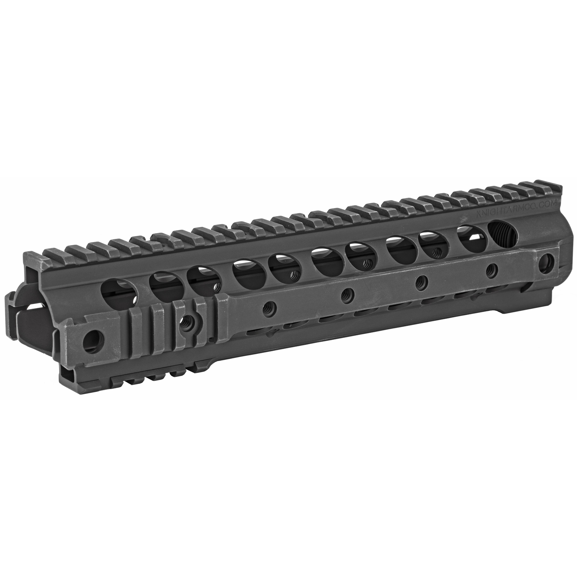 """Knights Armament Co.'s URX 3.1 10.75"""" Rail Forend Assembly is a free floating"""" fully modular replacement forend for the AR-15 platform. Unlike traditional quad rail designs"""" the URX 3.1 incorporates short sections of M1913 Picatinny rail at its front and rear ends for mounting tactical accessories"""" eliminating the commonly unused sections of rail for reduced overall weight and a more comfortable grip. A total of 4 integral QD sling swivel sockets are provided for ambidextrous sling compatibility. This URX 3.1 rail requires that the rifle have a carbine or mid length gas system and a low profile gas block. Disassembly of the rifle's gas system and removal of the factory barrel nut will be necessary. This forend uses a proprietary barrel nut that MUST be installed using a KAC URX Barrel Nut Wrench (not included). For AR-15/SR-15 based platforms only; not compatible with SR-25 variants. Installation instructions"""" barrel nut and hardware are included."""