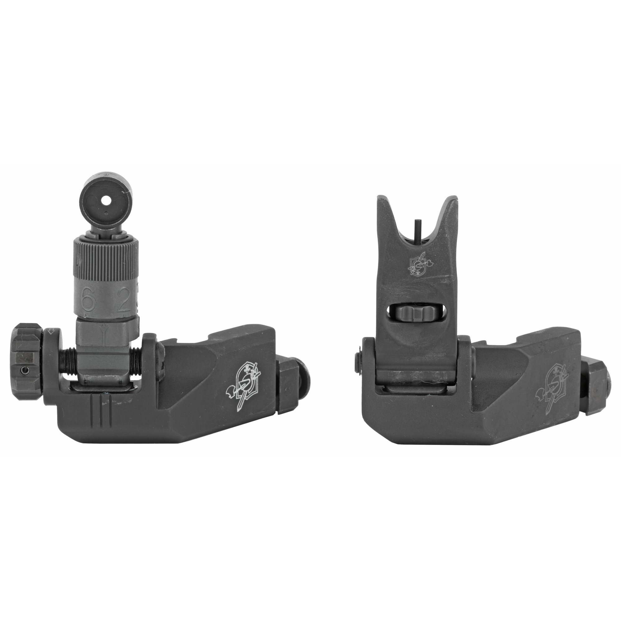 This 45 degree 200-600 meter offset folding sight kit allows shooters easy access to a set of backup iron sights for close range target engagements without the need to remove their primary optic. This kit includes an elevation adjustable 200-600 meter micro rear sight and finger adjustable micro front sight assembly.